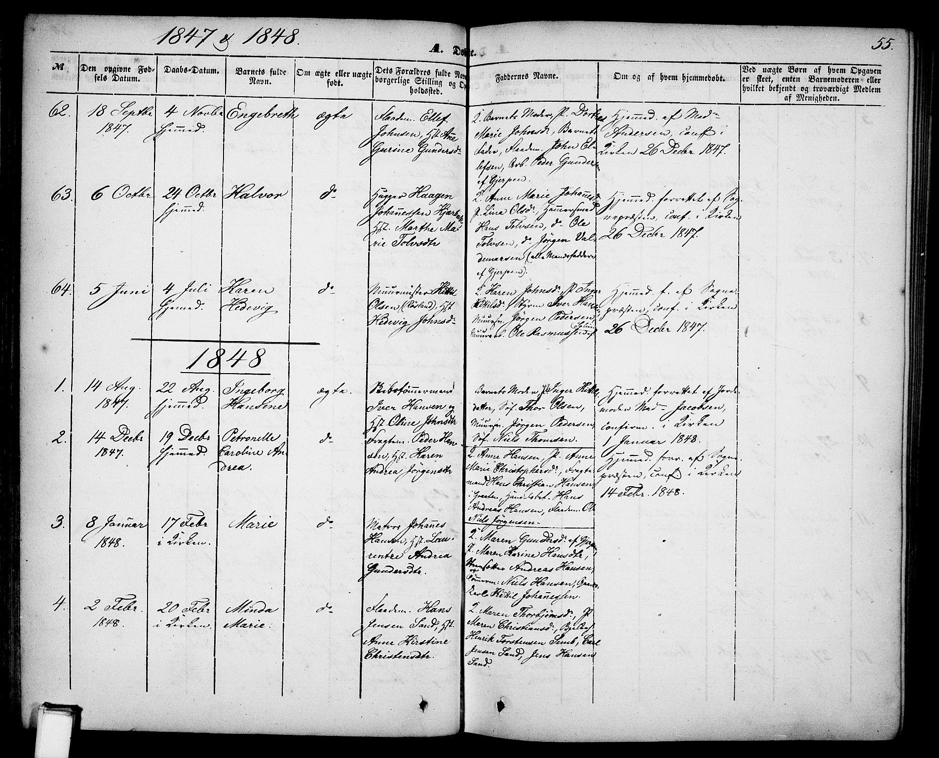 SAKO, Skien kirkebøker, G/Ga/L0004: Klokkerbok nr. 4, 1843-1867, s. 55