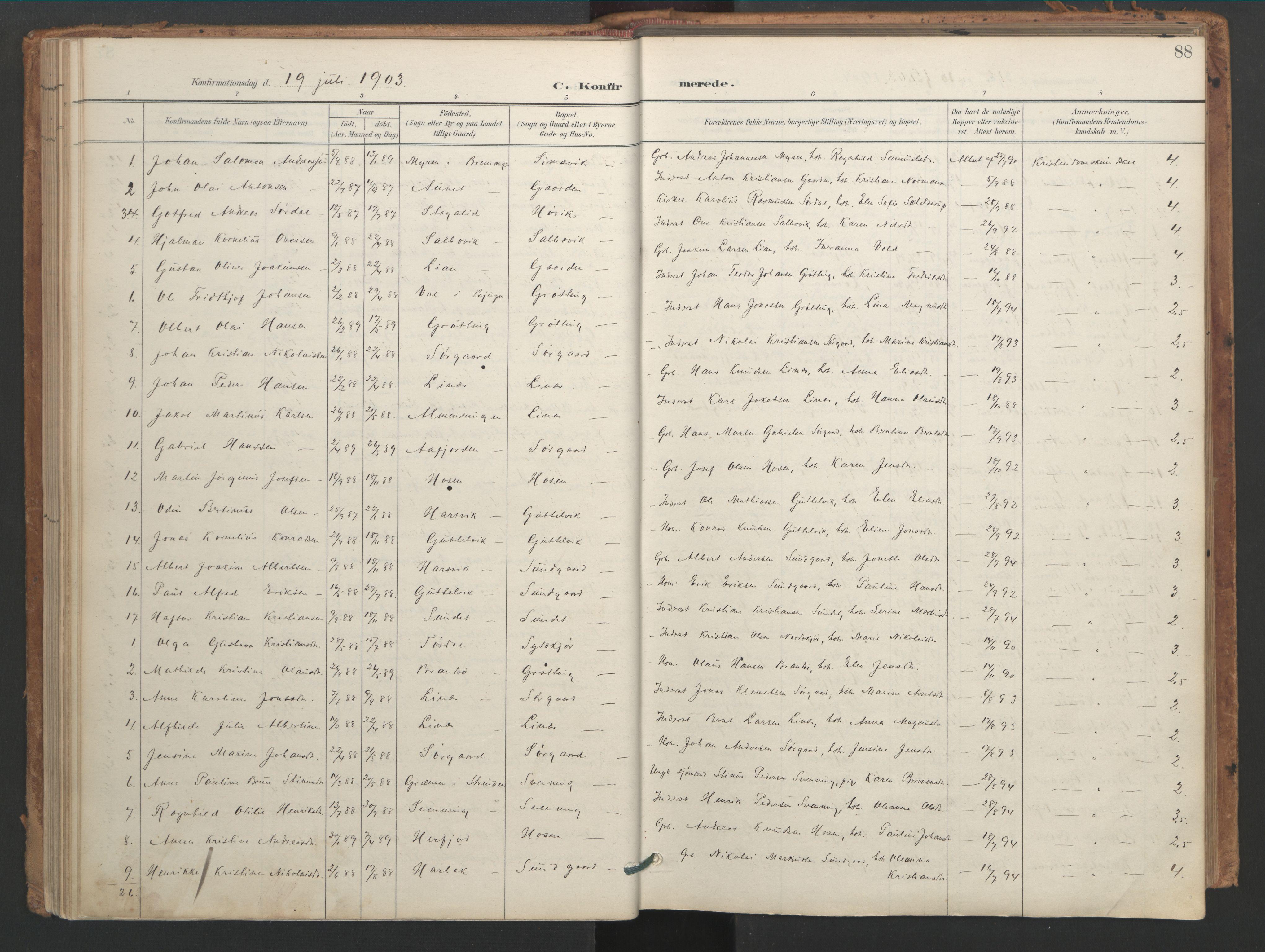SAT, Ministerialprotokoller, klokkerbøker og fødselsregistre - Sør-Trøndelag, 656/L0693: Ministerialbok nr. 656A02, 1894-1913, s. 88