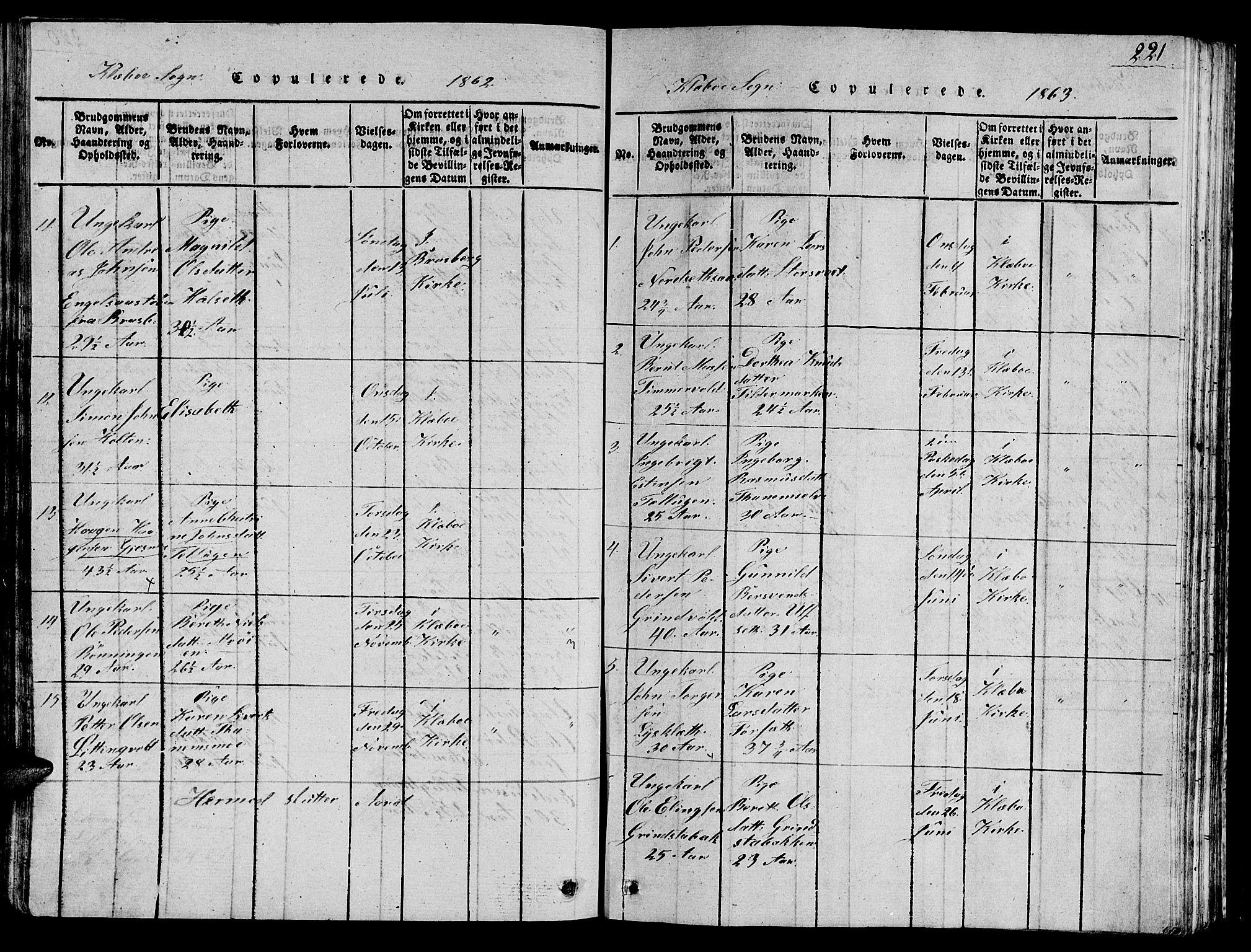 SAT, Ministerialprotokoller, klokkerbøker og fødselsregistre - Sør-Trøndelag, 618/L0450: Klokkerbok nr. 618C01, 1816-1865, s. 221