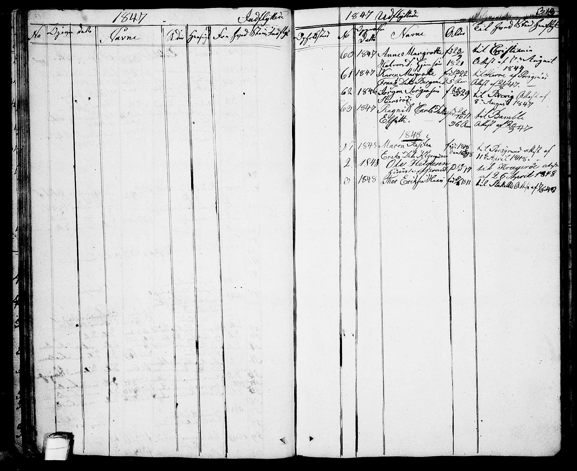 SAKO, Solum kirkebøker, G/Ga/L0002: Klokkerbok nr. I 2, 1834-1848, s. 313
