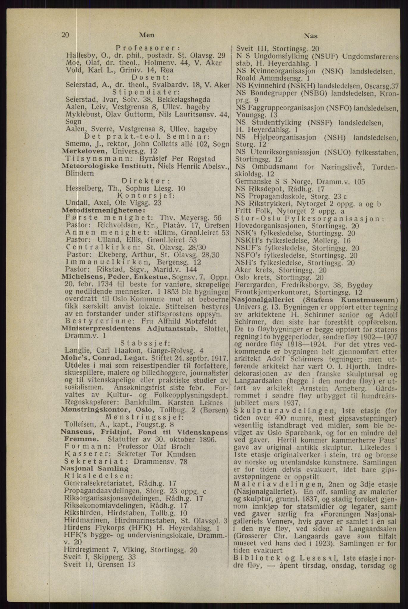 RA, Oslo adressebok (publikasjon)*, 1944, s. 20