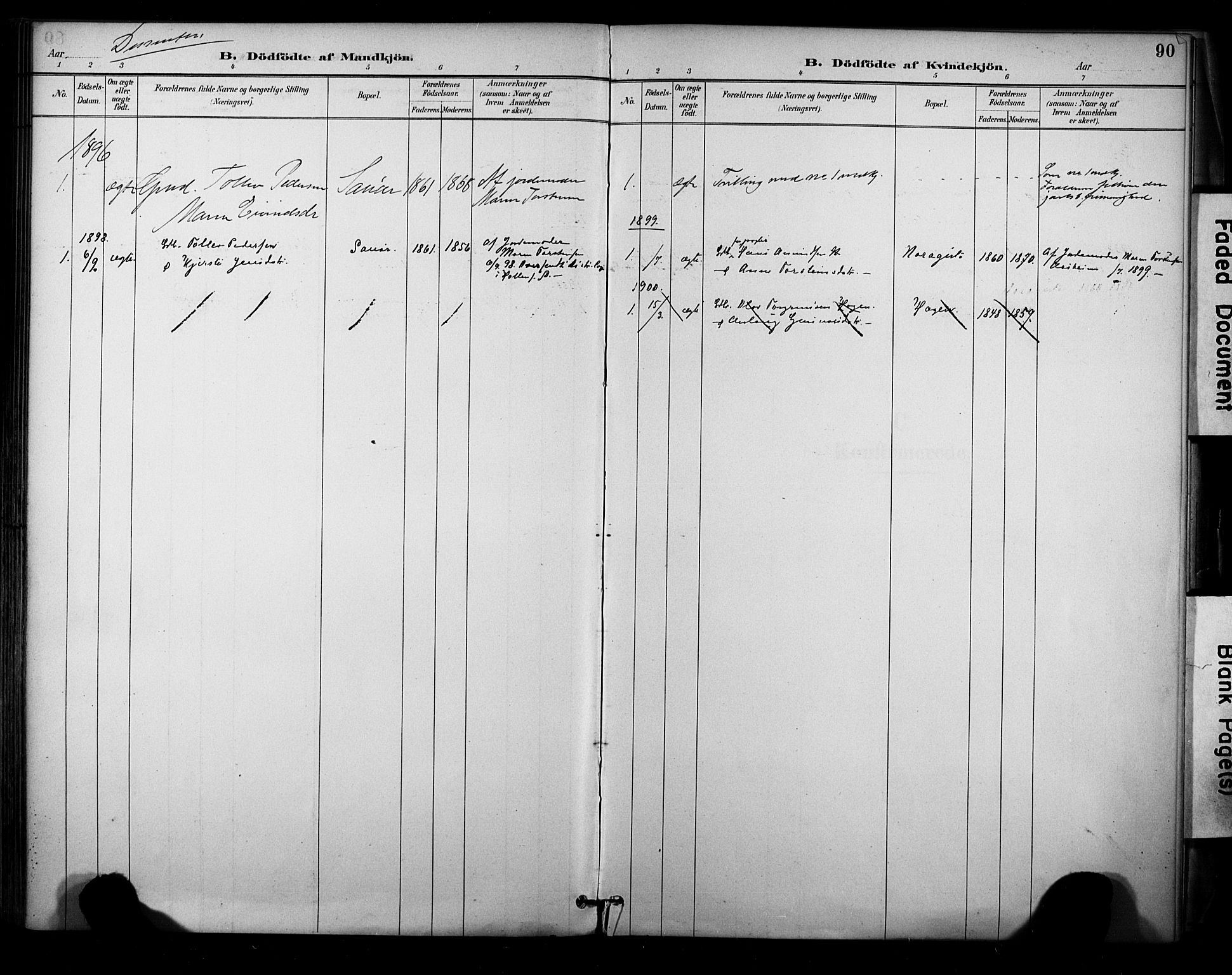 SAKO, Sauherad kirkebøker, F/Fa/L0009: Ministerialbok nr. I 9, 1887-1912, s. 90