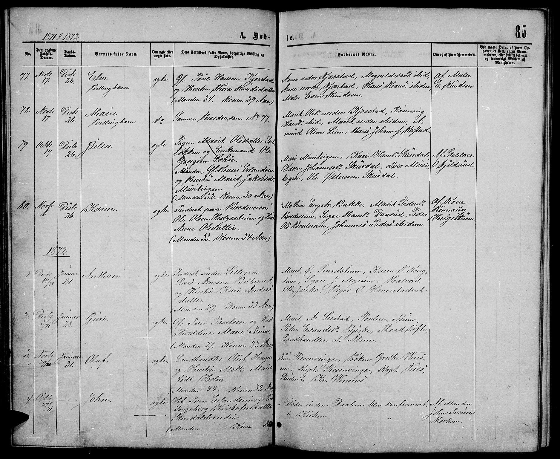 SAH, Sør-Fron prestekontor, H/Ha/Hab/L0002: Klokkerbok nr. 2, 1864-1883, s. 85