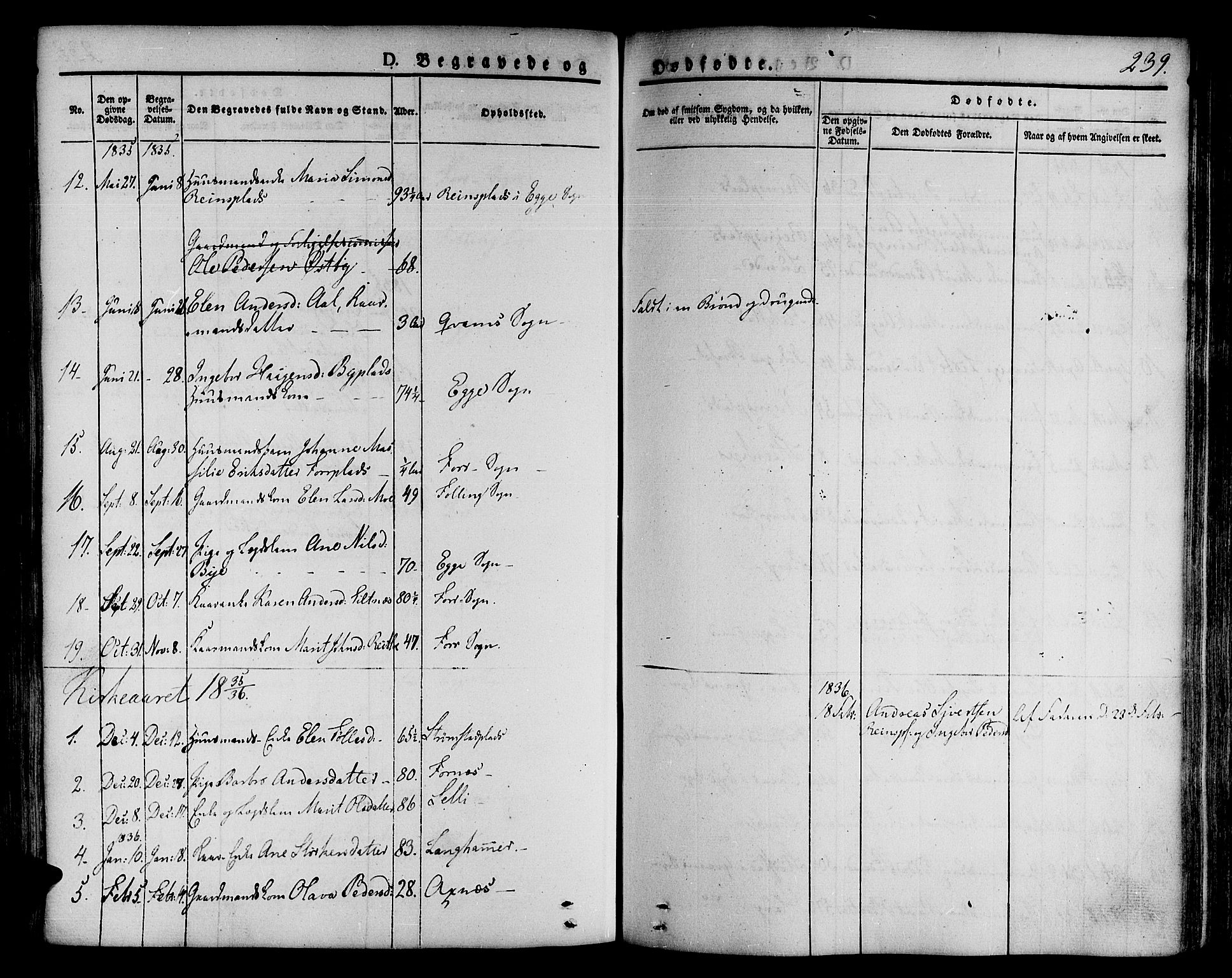 SAT, Ministerialprotokoller, klokkerbøker og fødselsregistre - Nord-Trøndelag, 746/L0445: Ministerialbok nr. 746A04, 1826-1846, s. 239