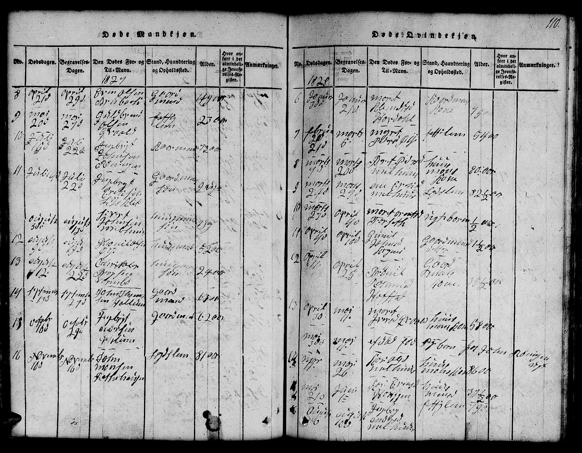 SAT, Ministerialprotokoller, klokkerbøker og fødselsregistre - Sør-Trøndelag, 691/L1092: Klokkerbok nr. 691C03, 1816-1852, s. 110