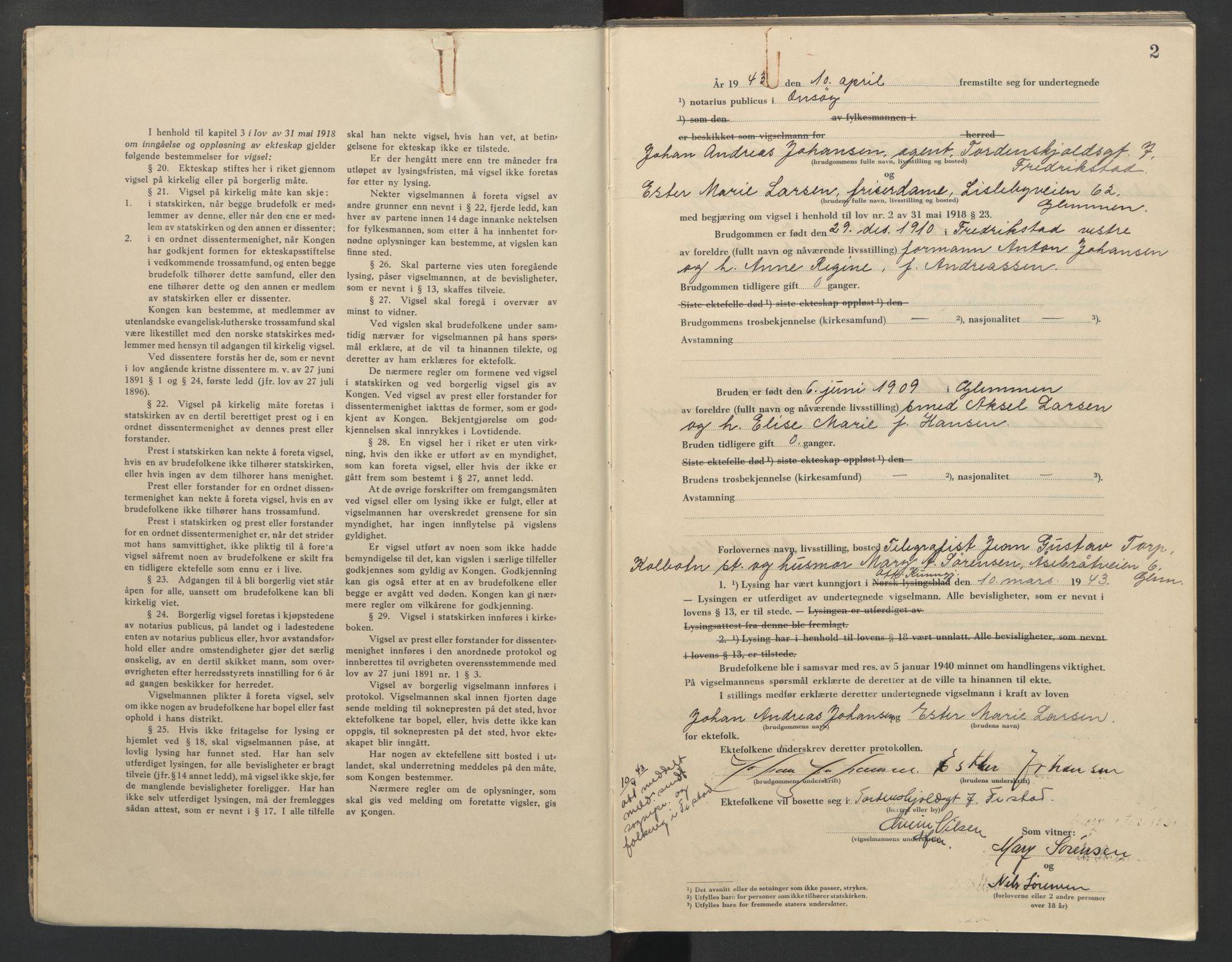 SAO, Onsøy sorenskriveri, L/La/L0003: Vigselsbok, 1943, s. 2