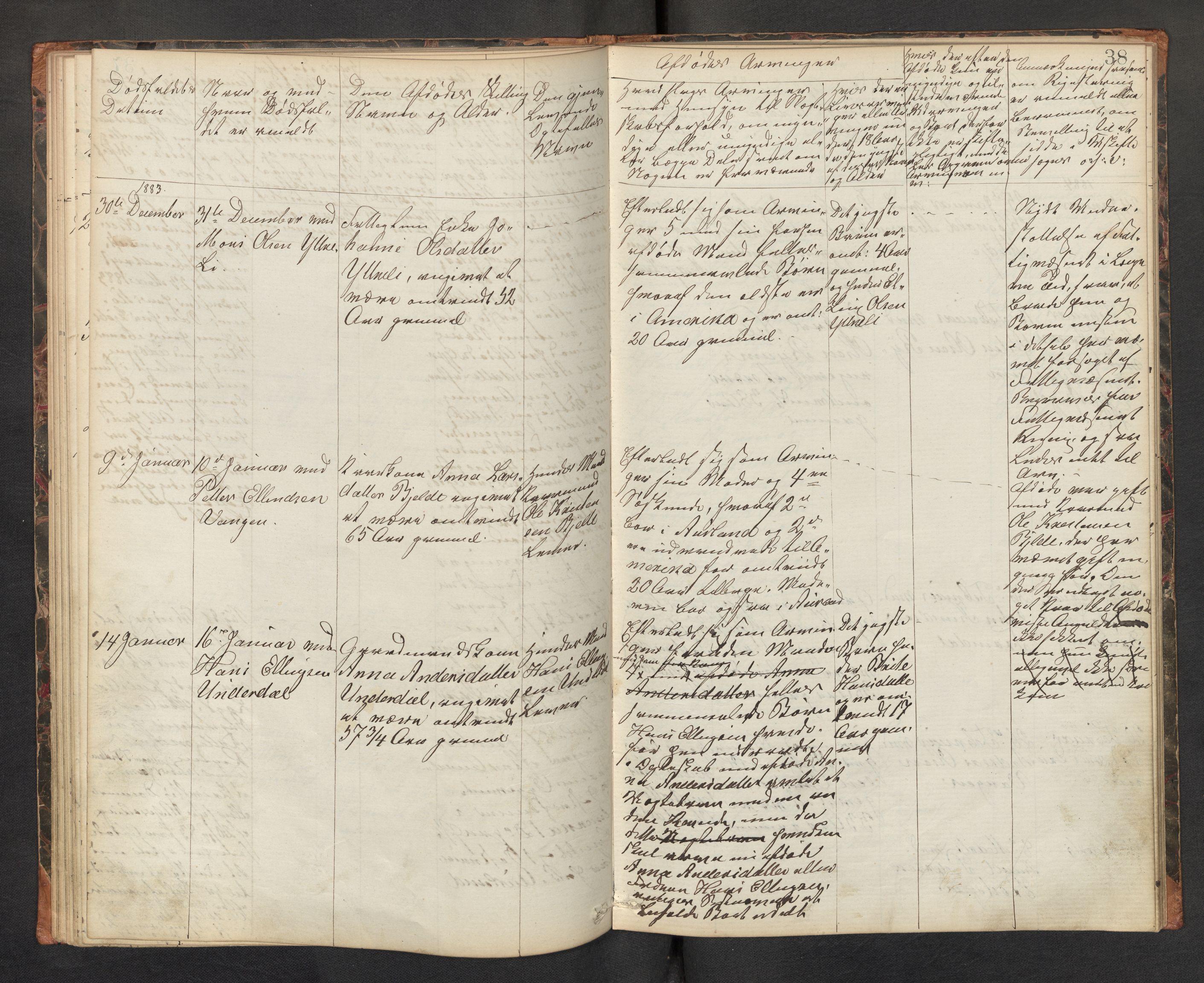 SAB, Lensmannen i Aurland, 0006/L0002: Dødsfallprotokoll, 1877-1892, s. 37b-38a