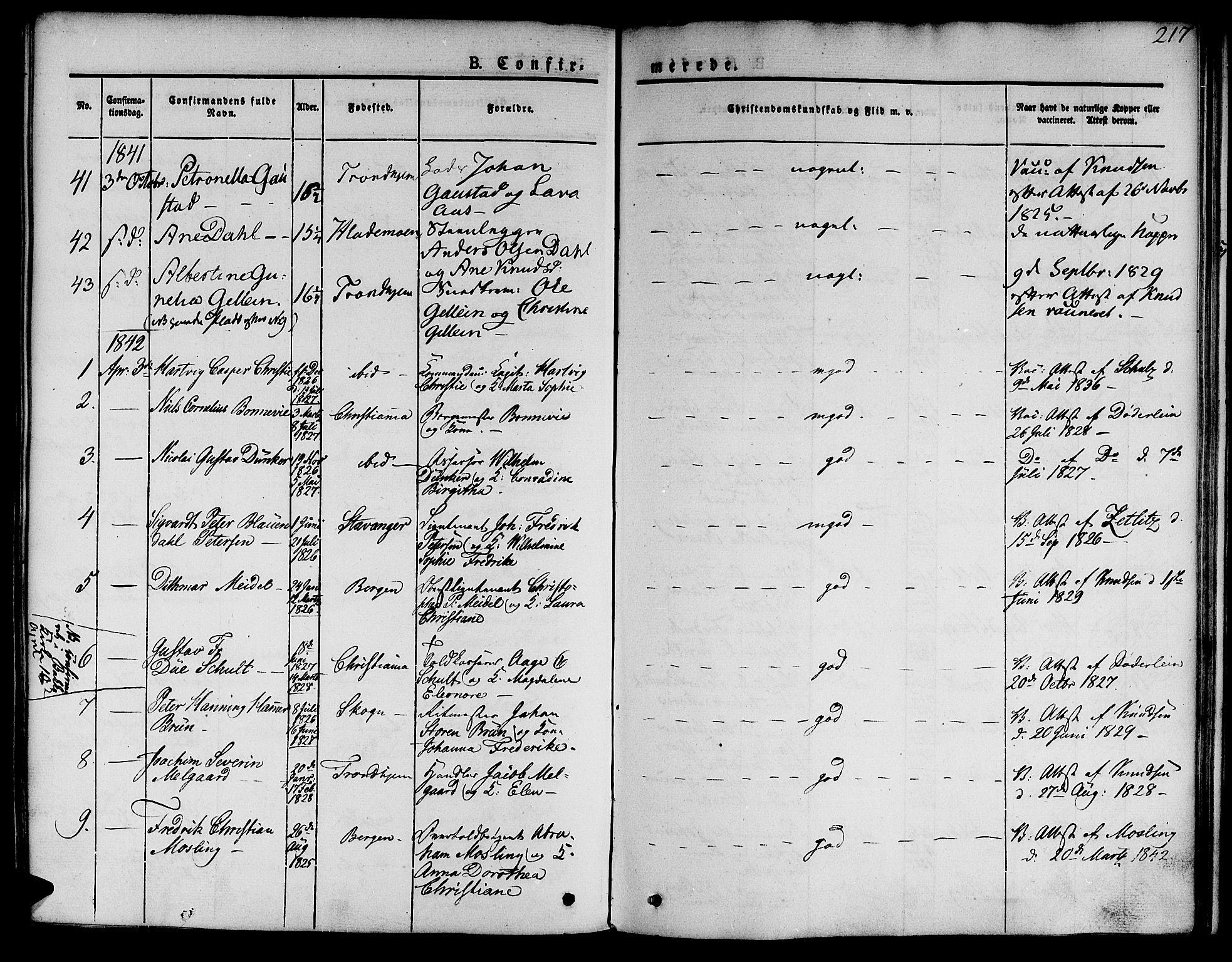 SAT, Ministerialprotokoller, klokkerbøker og fødselsregistre - Sør-Trøndelag, 601/L0048: Ministerialbok nr. 601A16, 1840-1847, s. 217