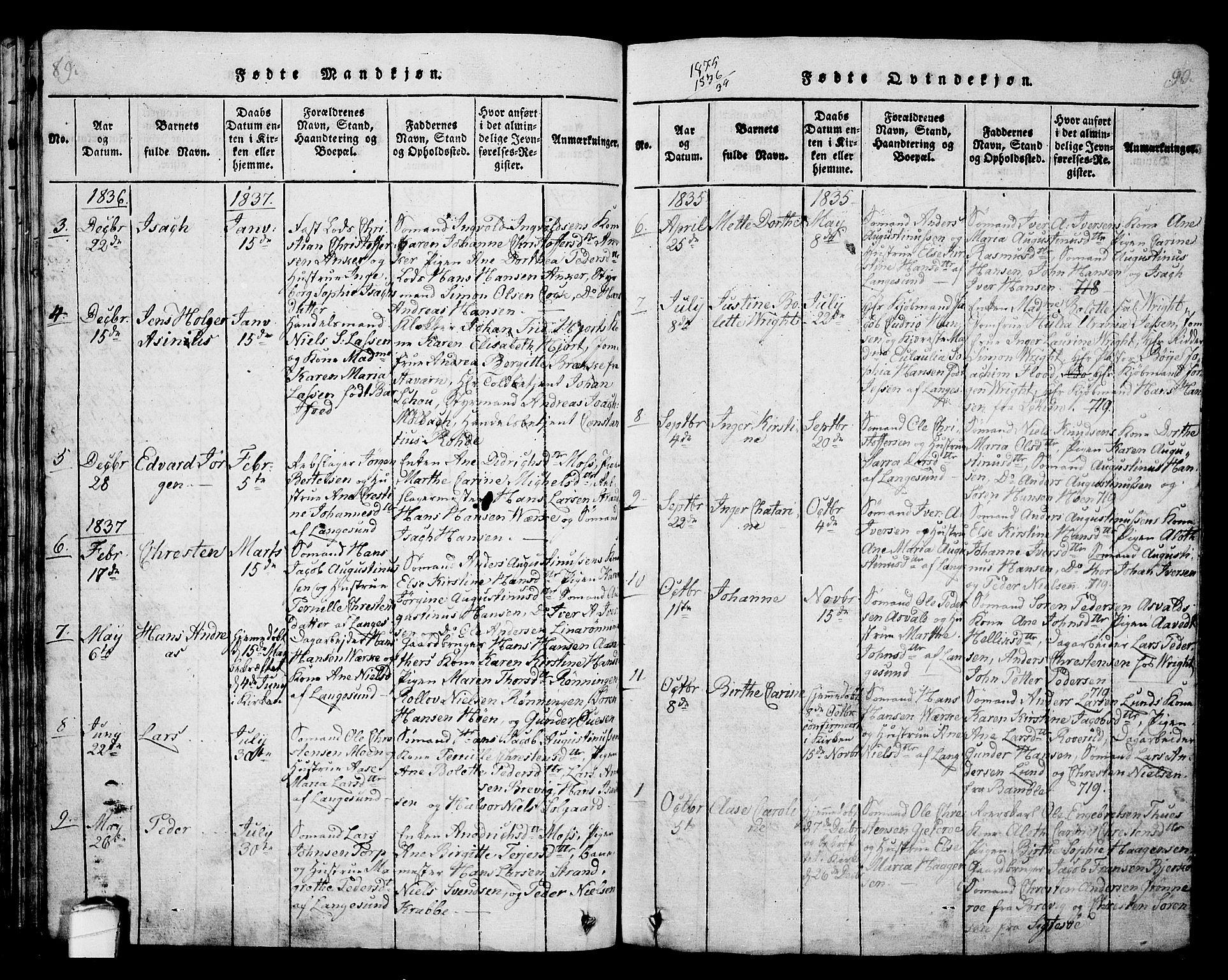 SAKO, Langesund kirkebøker, G/Ga/L0003: Klokkerbok nr. 3, 1815-1858, s. 89-90