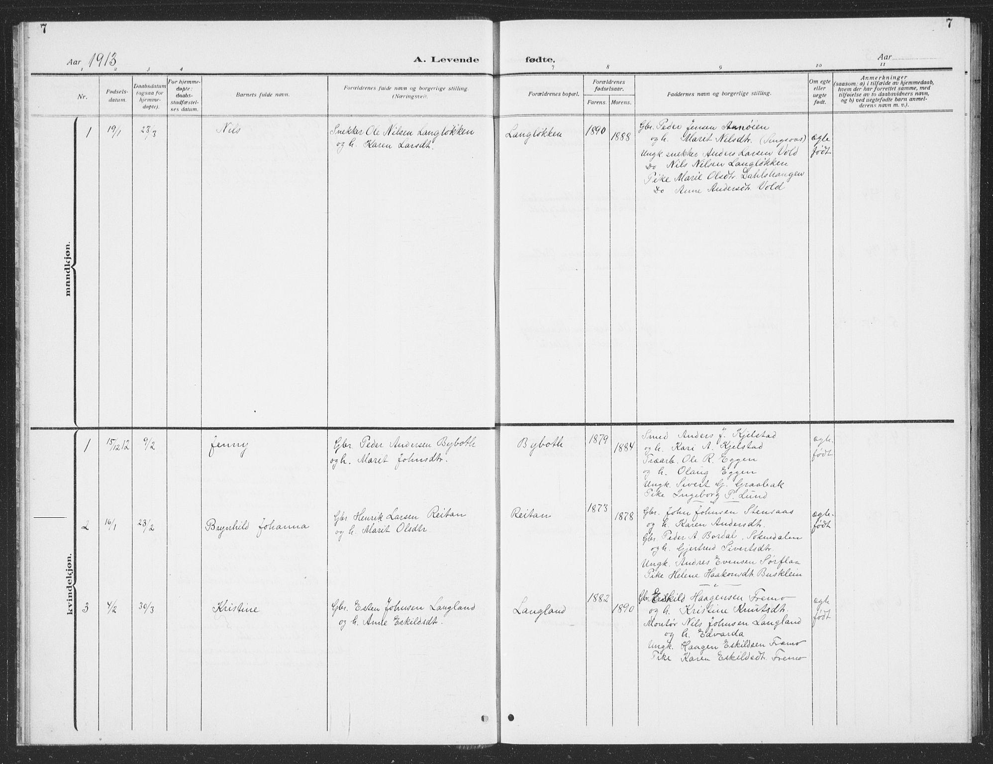 SAT, Ministerialprotokoller, klokkerbøker og fødselsregistre - Sør-Trøndelag, 693/L1124: Klokkerbok nr. 693C05, 1911-1941, s. 7