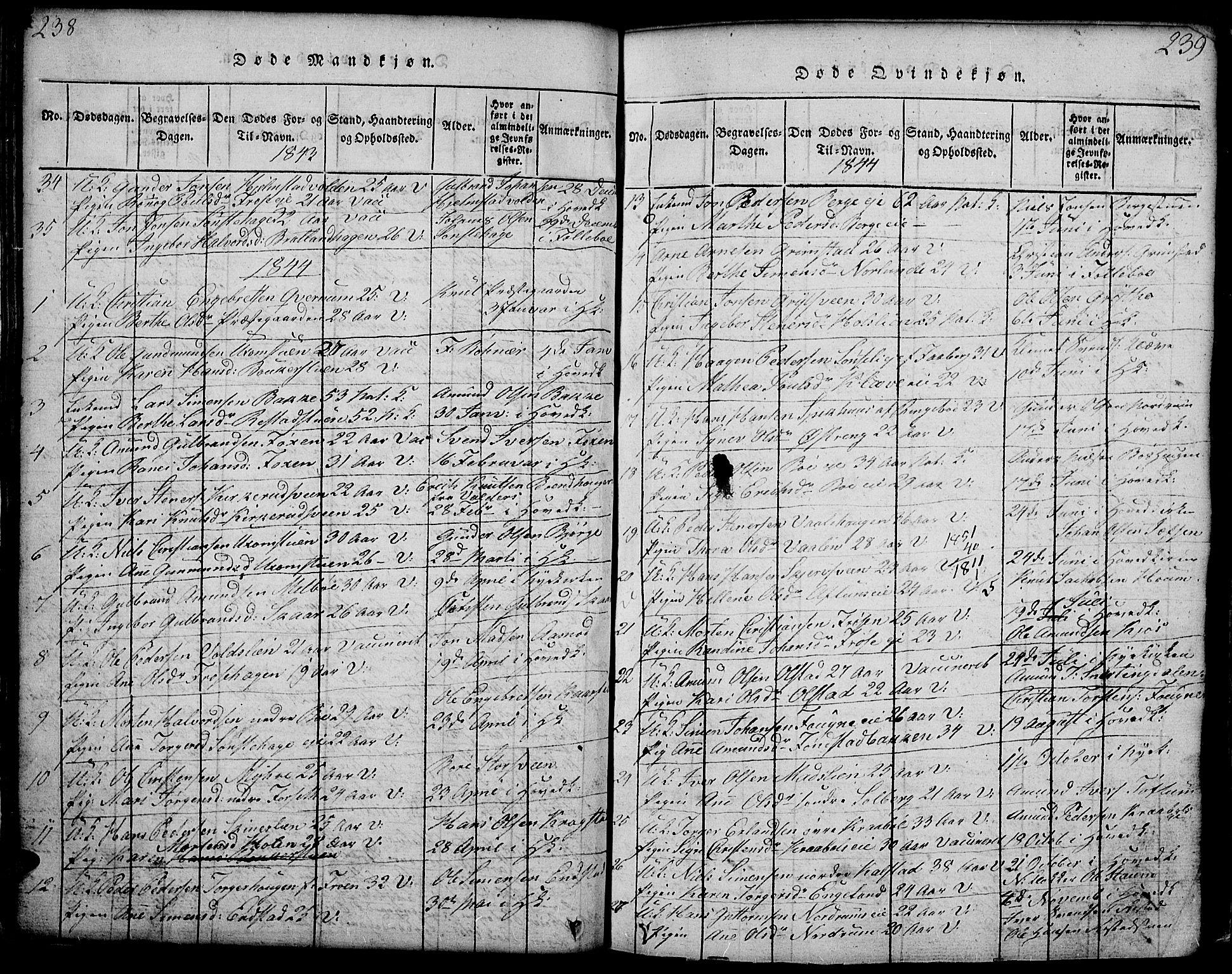 SAH, Gausdal prestekontor, Klokkerbok nr. 1, 1817-1848, s. 238-239