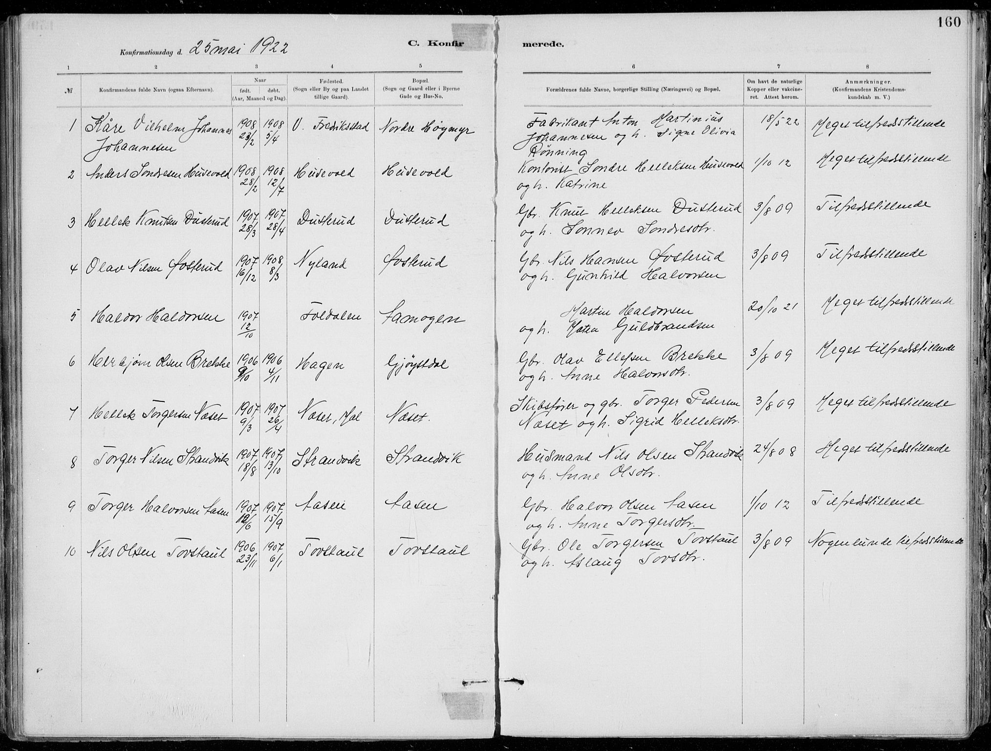 SAKO, Tinn kirkebøker, F/Fa/L0007: Ministerialbok nr. I 7, 1878-1922, s. 160