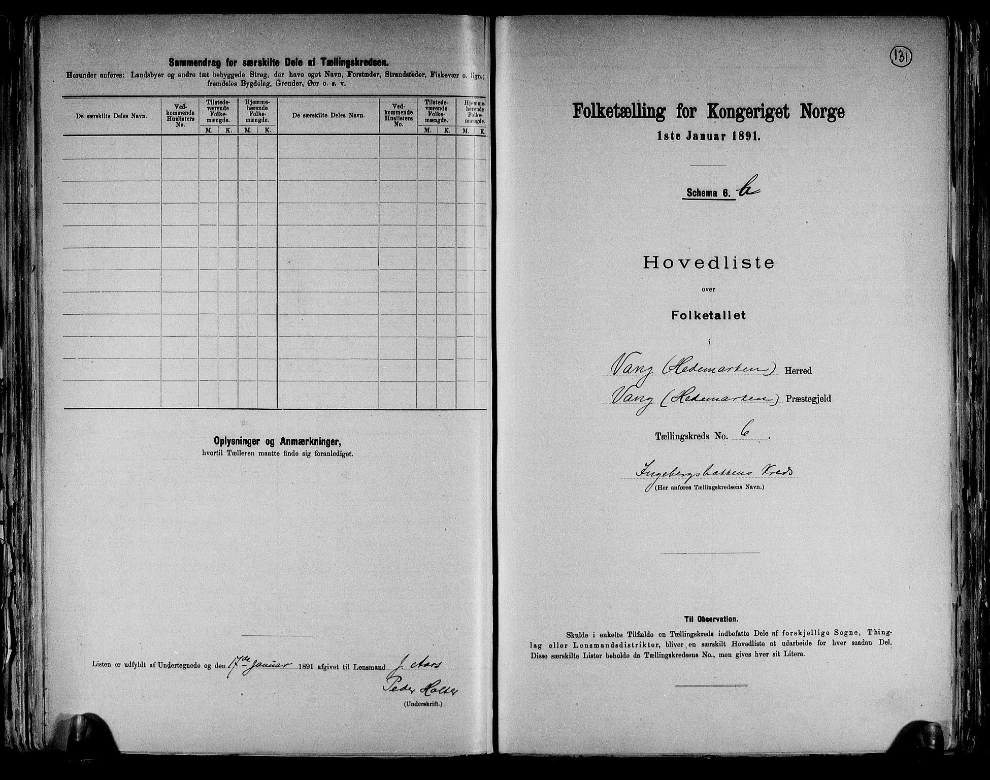 RA, Folketelling 1891 for 0414 Vang herred, 1891, s. 27