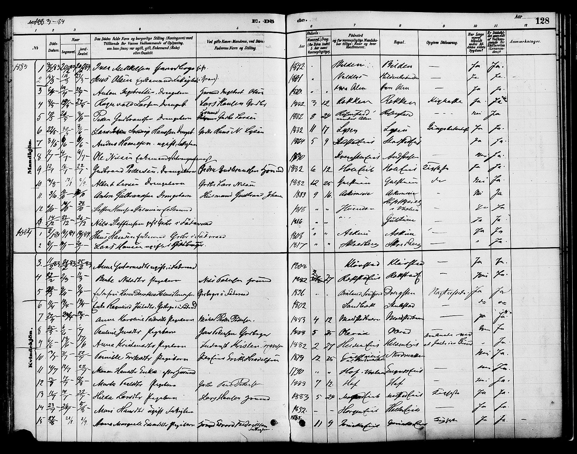 SAH, Gran prestekontor, Ministerialbok nr. 16, 1880-1888, s. 128