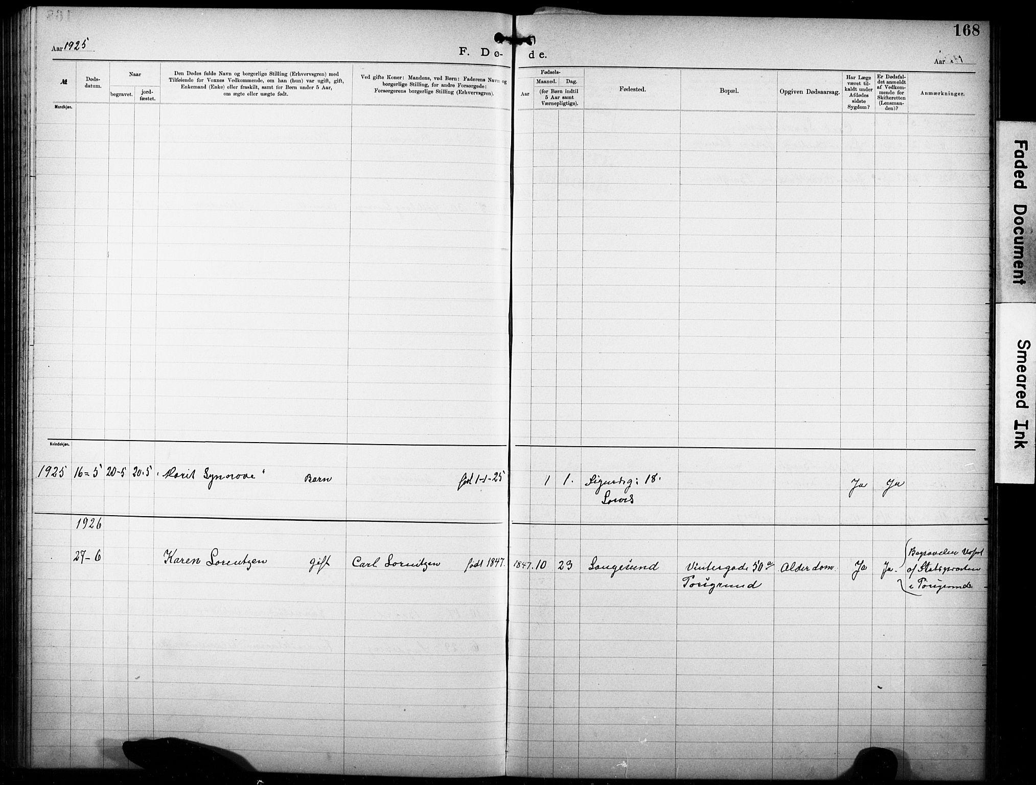 SAKO, Den katolsk-apostoliske menighet i Larvik, F/Fa/L0001: Dissenterprotokoll nr. 1, 1892-1933, s. 168