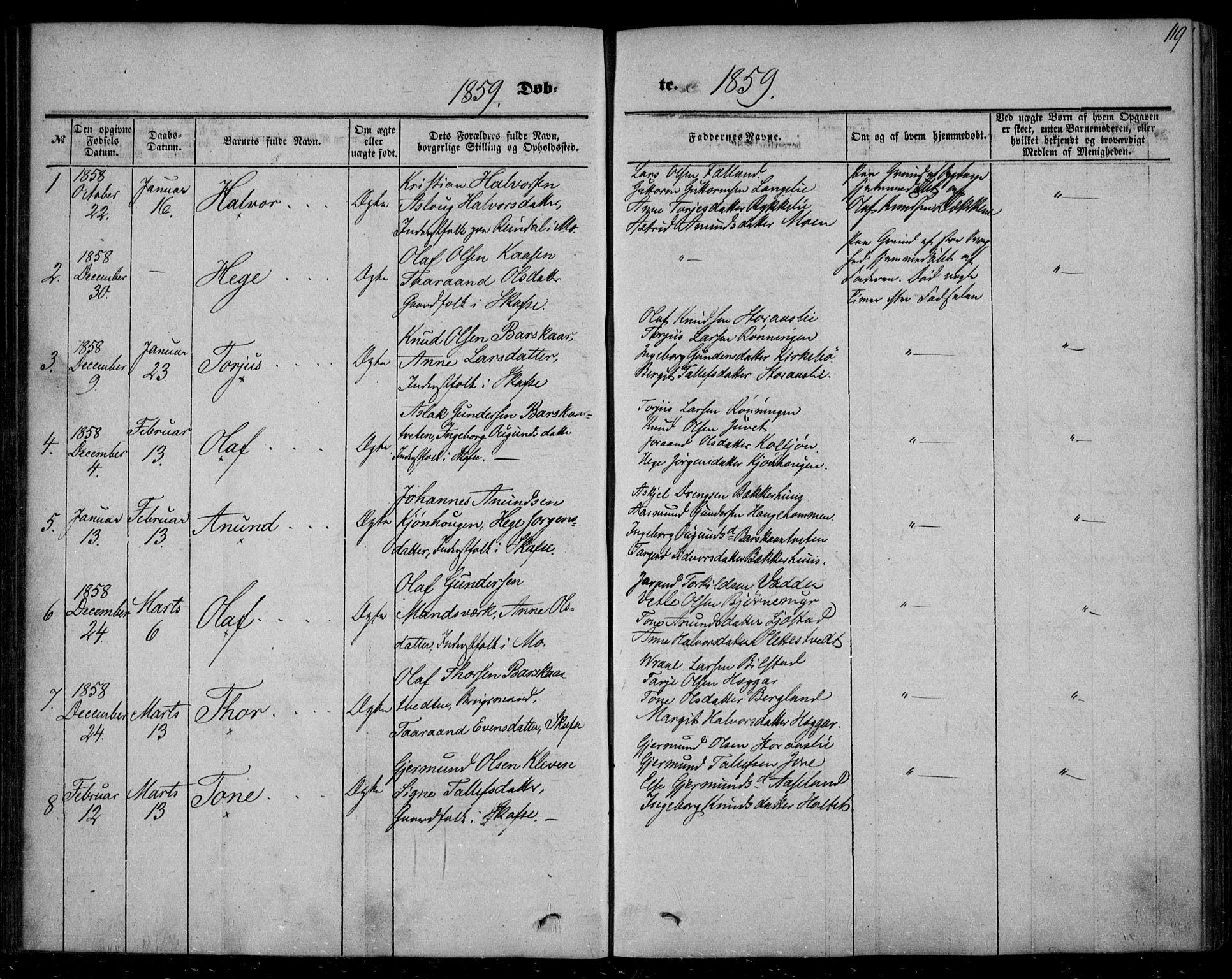 SAKO, Mo kirkebøker, F/Fa/L0005: Ministerialbok nr. I 5, 1844-1864, s. 119