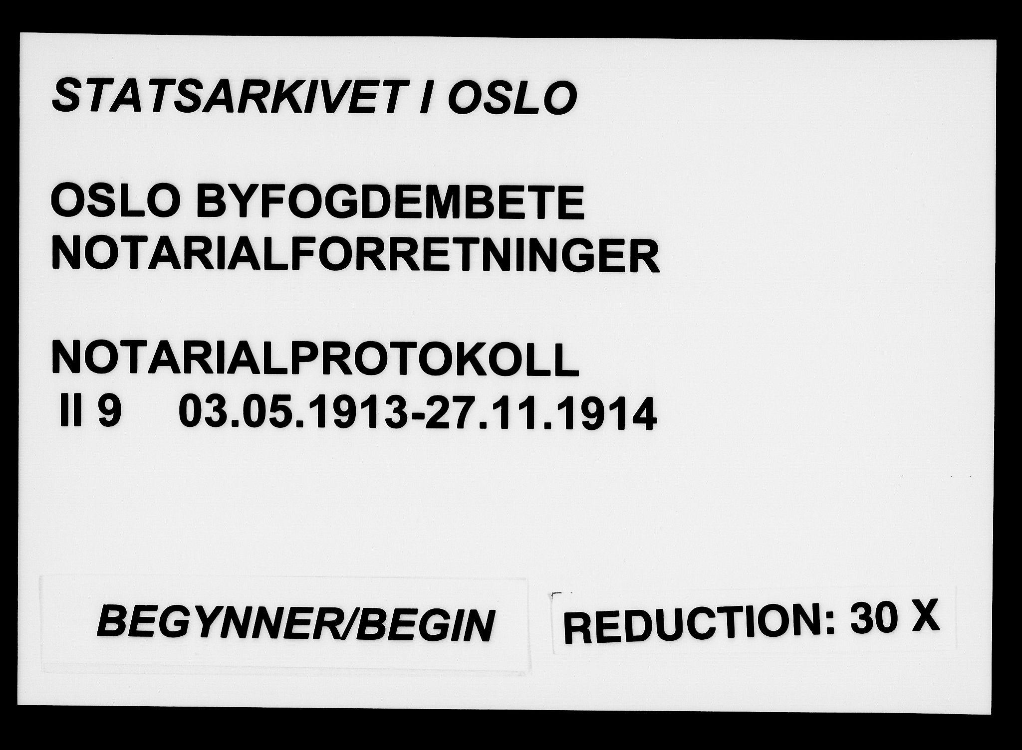 SAO, Oslo byfogd avd. I, L/Lb/Lbb/L0009: Notarialprotokoll, rekke II: Vigsler, 1913-1914, s. upaginert