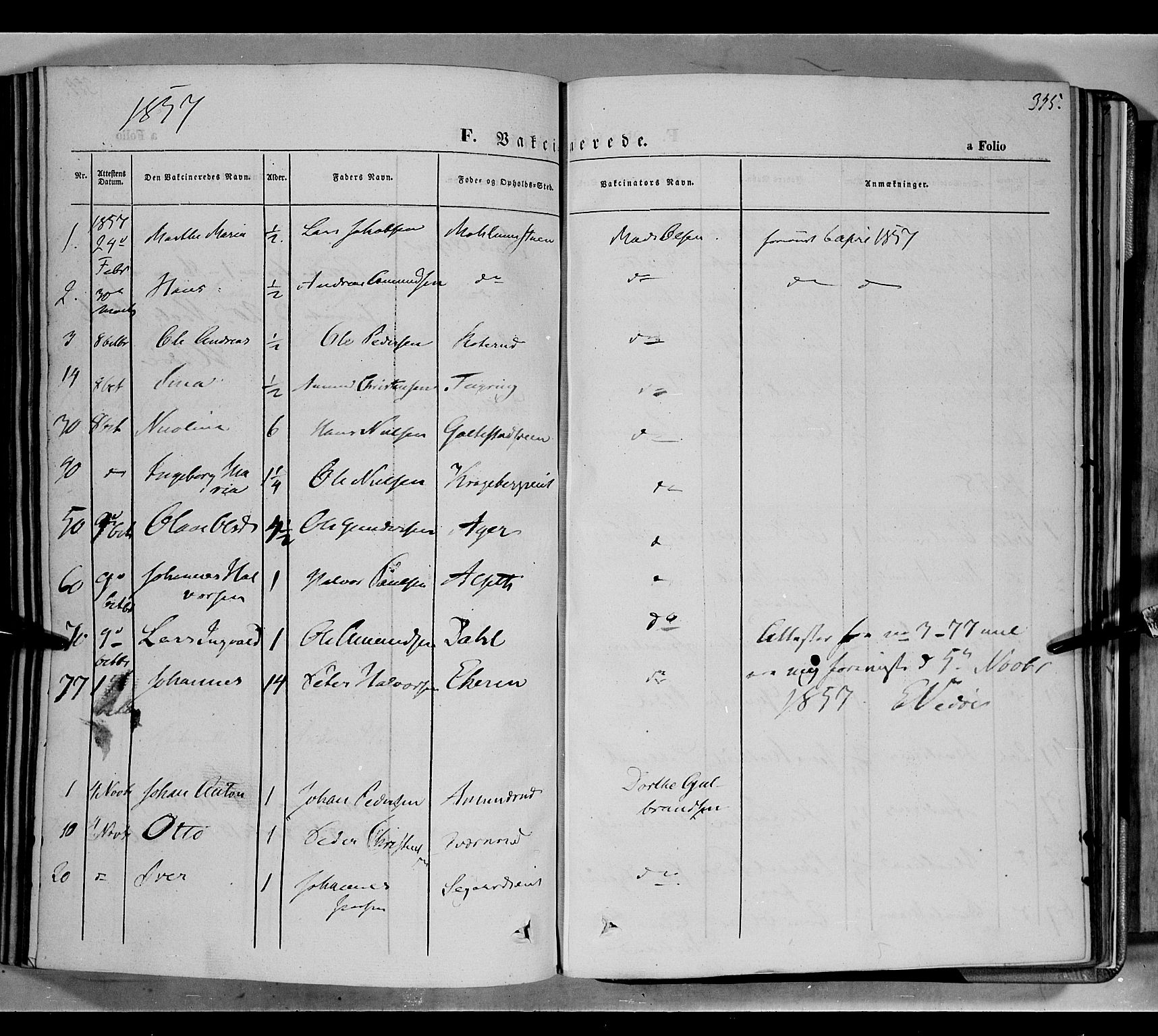 SAH, Biri prestekontor, Ministerialbok nr. 5, 1843-1854, s. 345