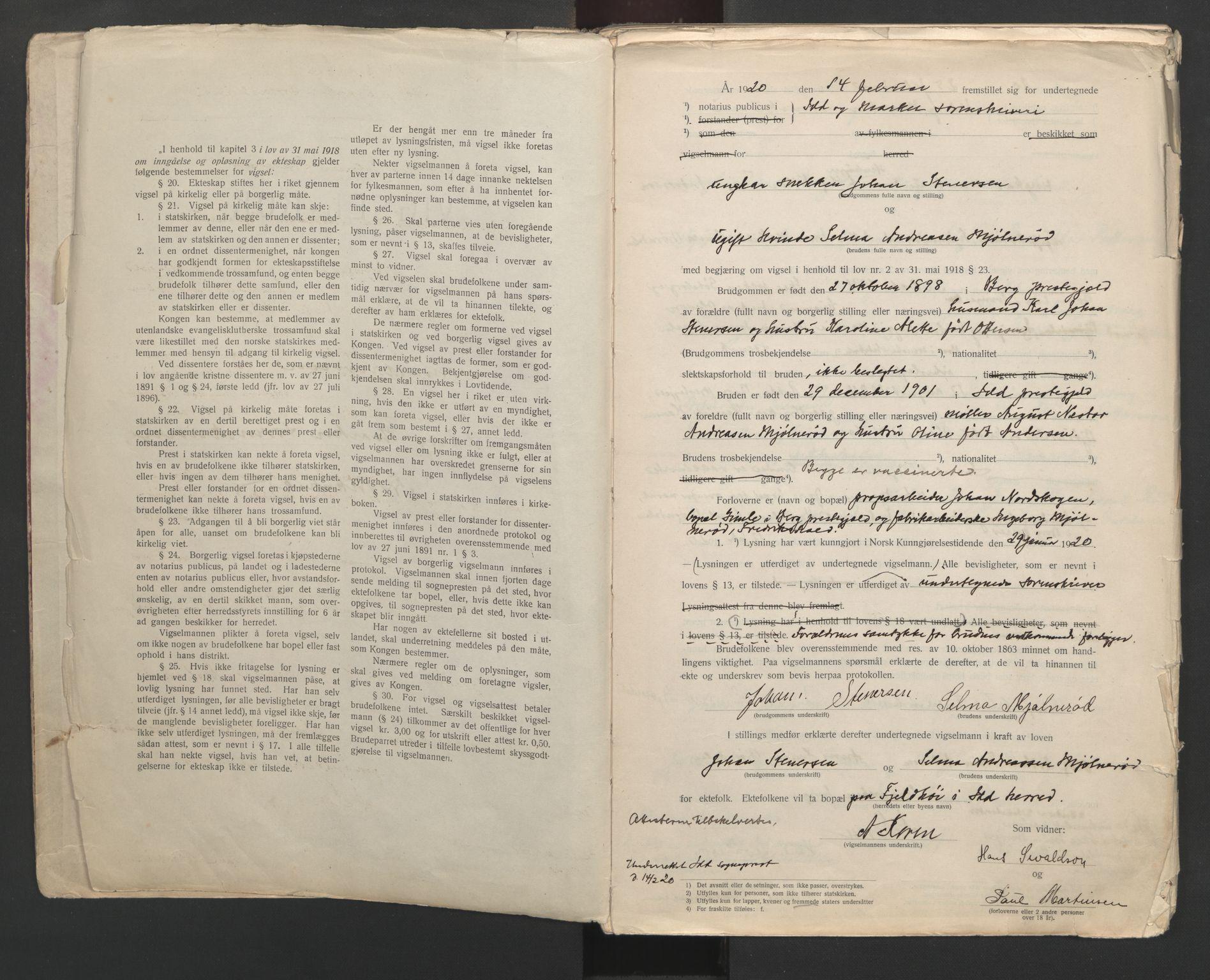 SAO, Idd og Marker sorenskriveri, L/Lc/L0001: Vigselsbøker, 1920-1942, s. 2