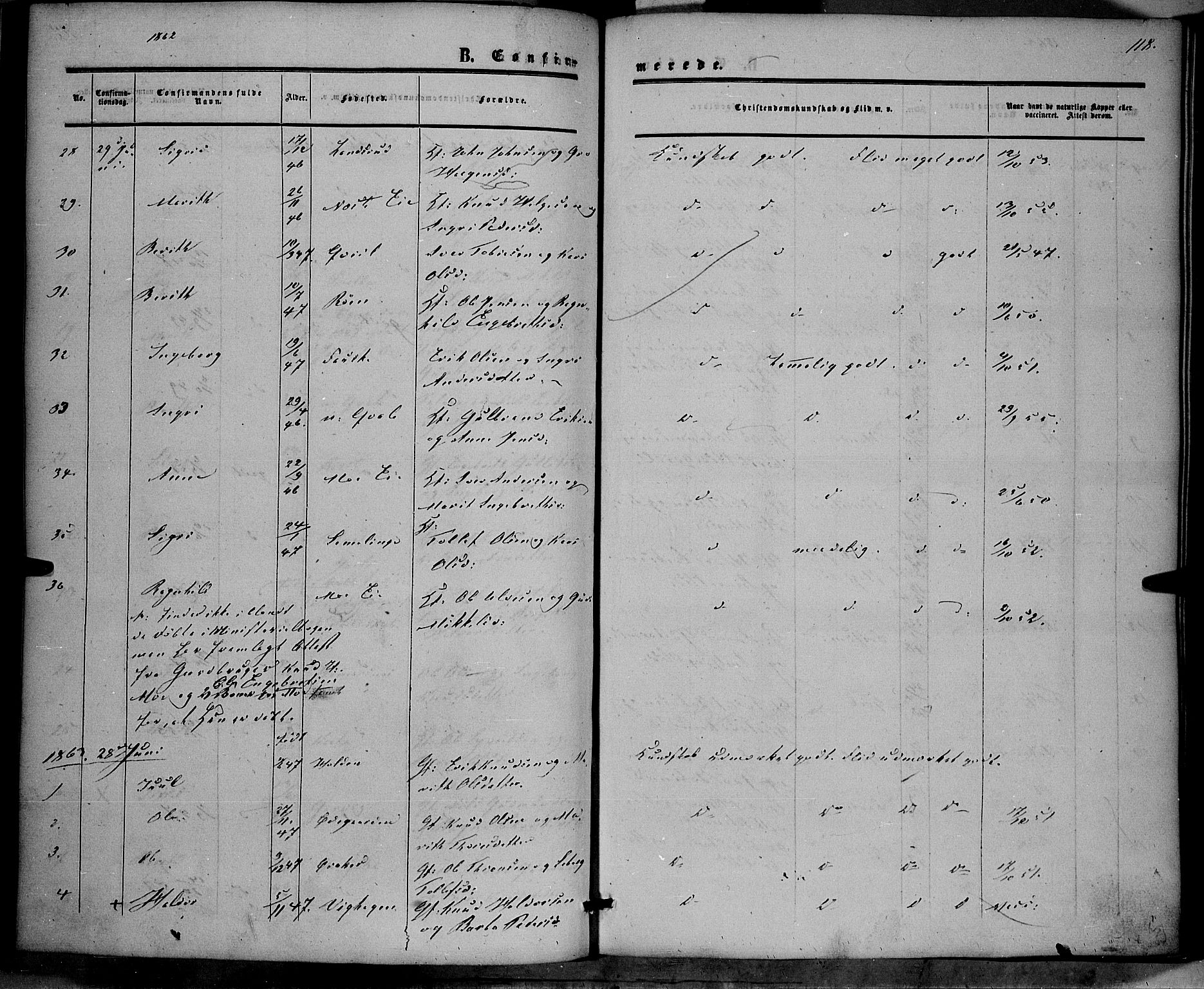 SAH, Vestre Slidre prestekontor, Ministerialbok nr. 2, 1856-1864, s. 118