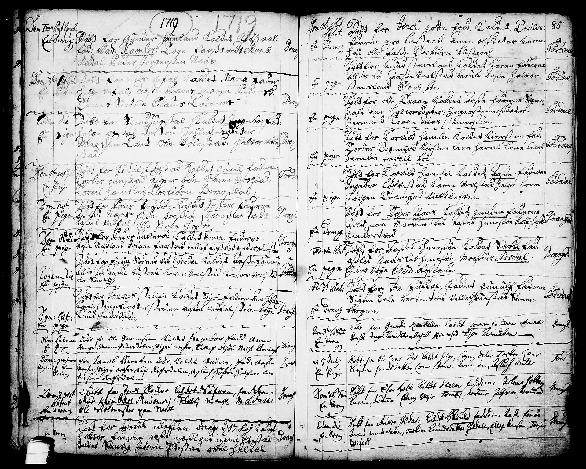 SAKO, Drangedal kirkebøker, F/Fa/L0001: Ministerialbok nr. 1, 1697-1767, s. 85