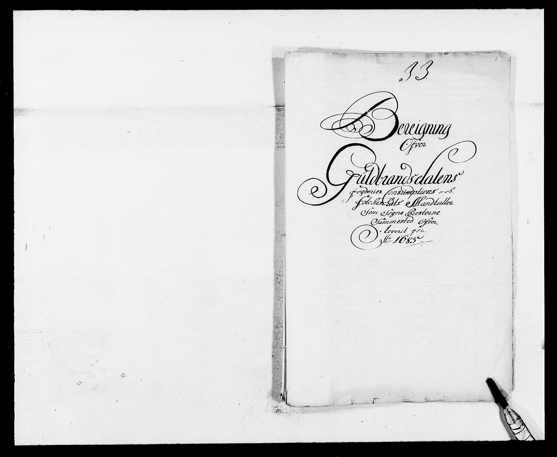 RA, Rentekammeret inntil 1814, Reviderte regnskaper, Fogderegnskap, R17/L1160: Fogderegnskap Gudbrandsdal, 1682-1689, s. 257