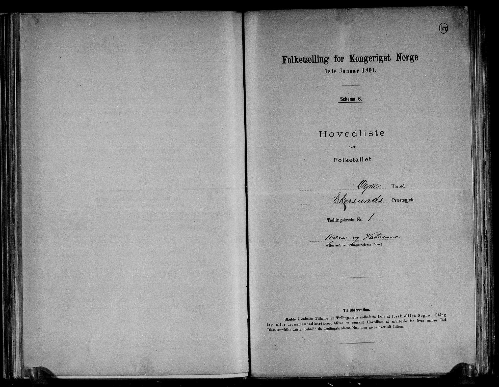 RA, Folketelling 1891 for 1117 Ogna herred, 1891, s. 4