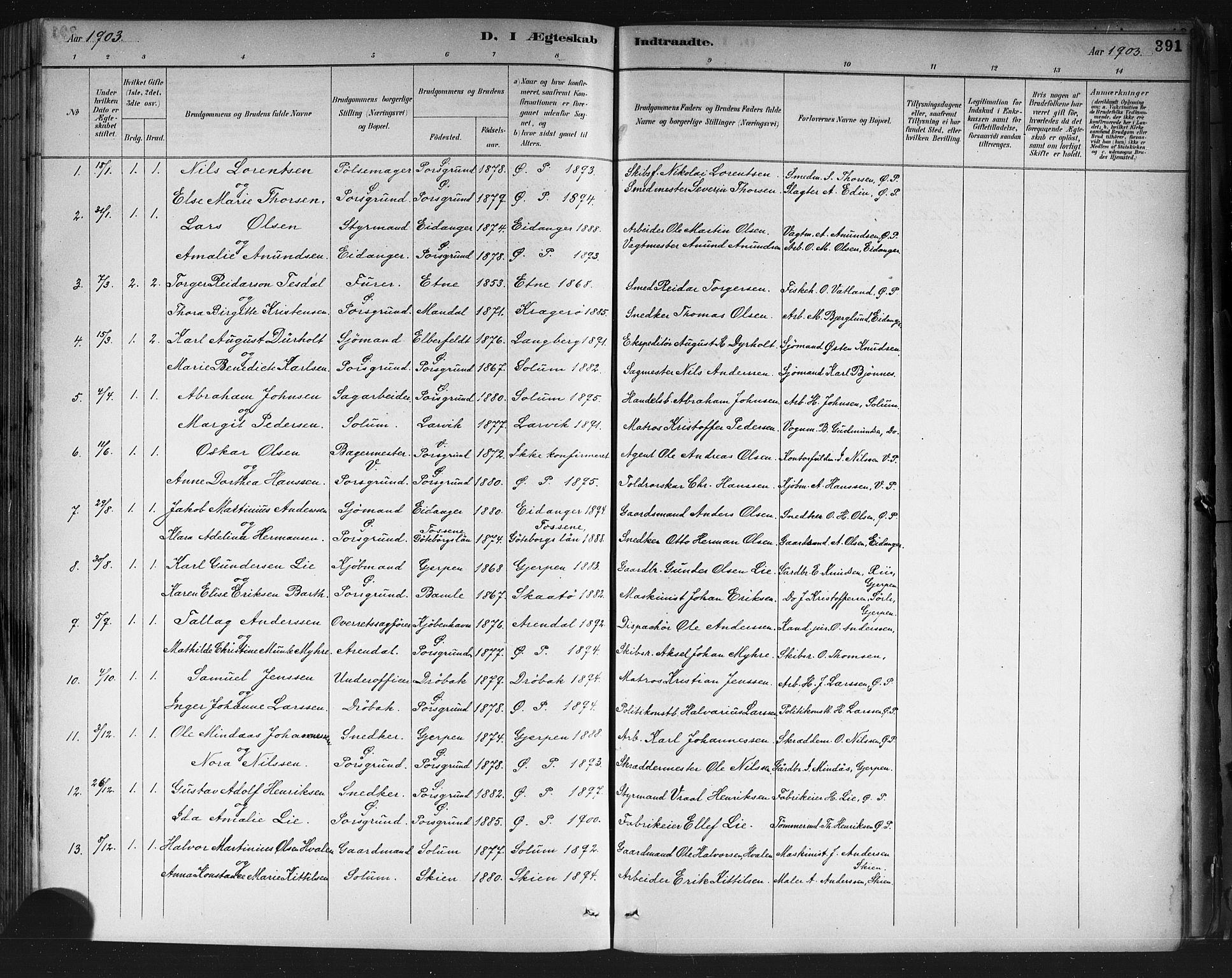 SAKO, Porsgrunn kirkebøker , G/Gb/L0005: Klokkerbok nr. II 5, 1883-1915, s. 391