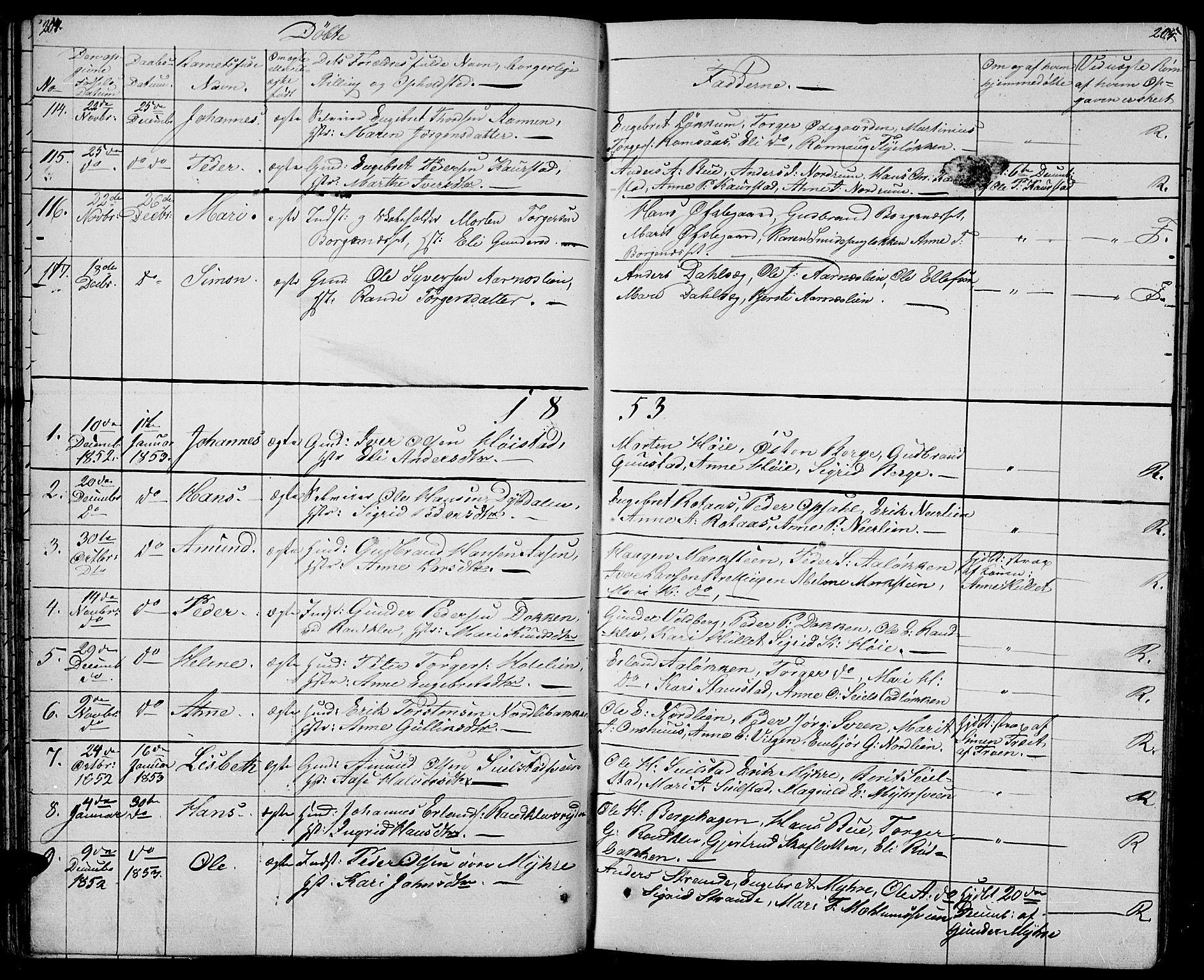 SAH, Ringebu prestekontor, Klokkerbok nr. 2, 1839-1853, s. 204-205