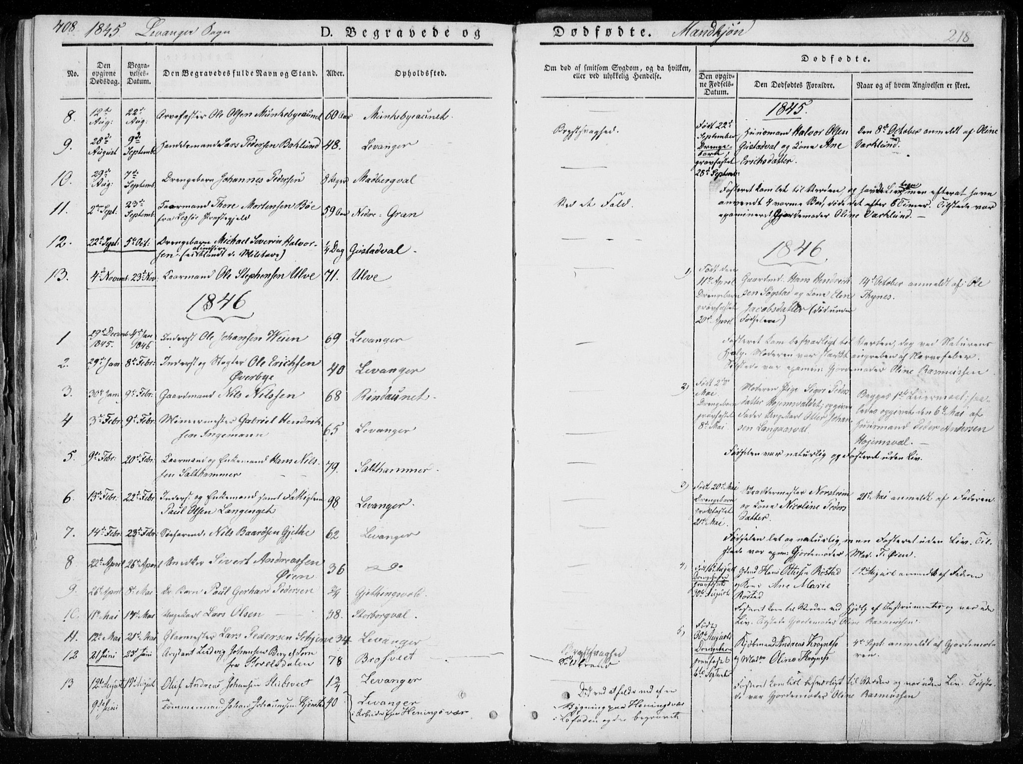SAT, Ministerialprotokoller, klokkerbøker og fødselsregistre - Nord-Trøndelag, 720/L0183: Ministerialbok nr. 720A01, 1836-1855, s. 218