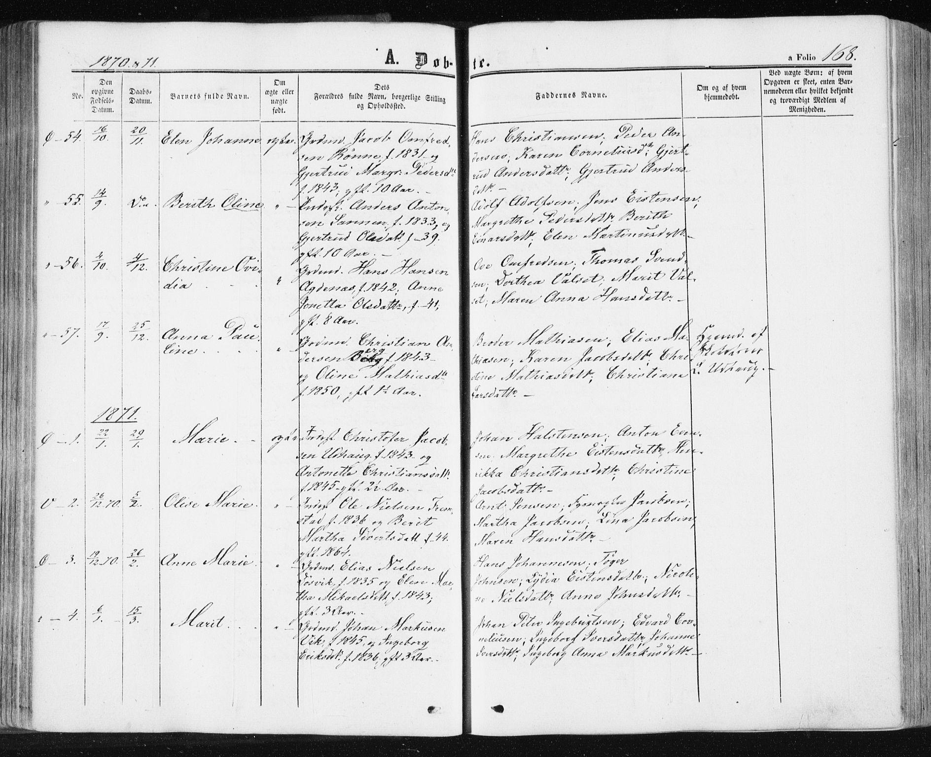 SAT, Ministerialprotokoller, klokkerbøker og fødselsregistre - Sør-Trøndelag, 659/L0737: Ministerialbok nr. 659A07, 1857-1875, s. 168