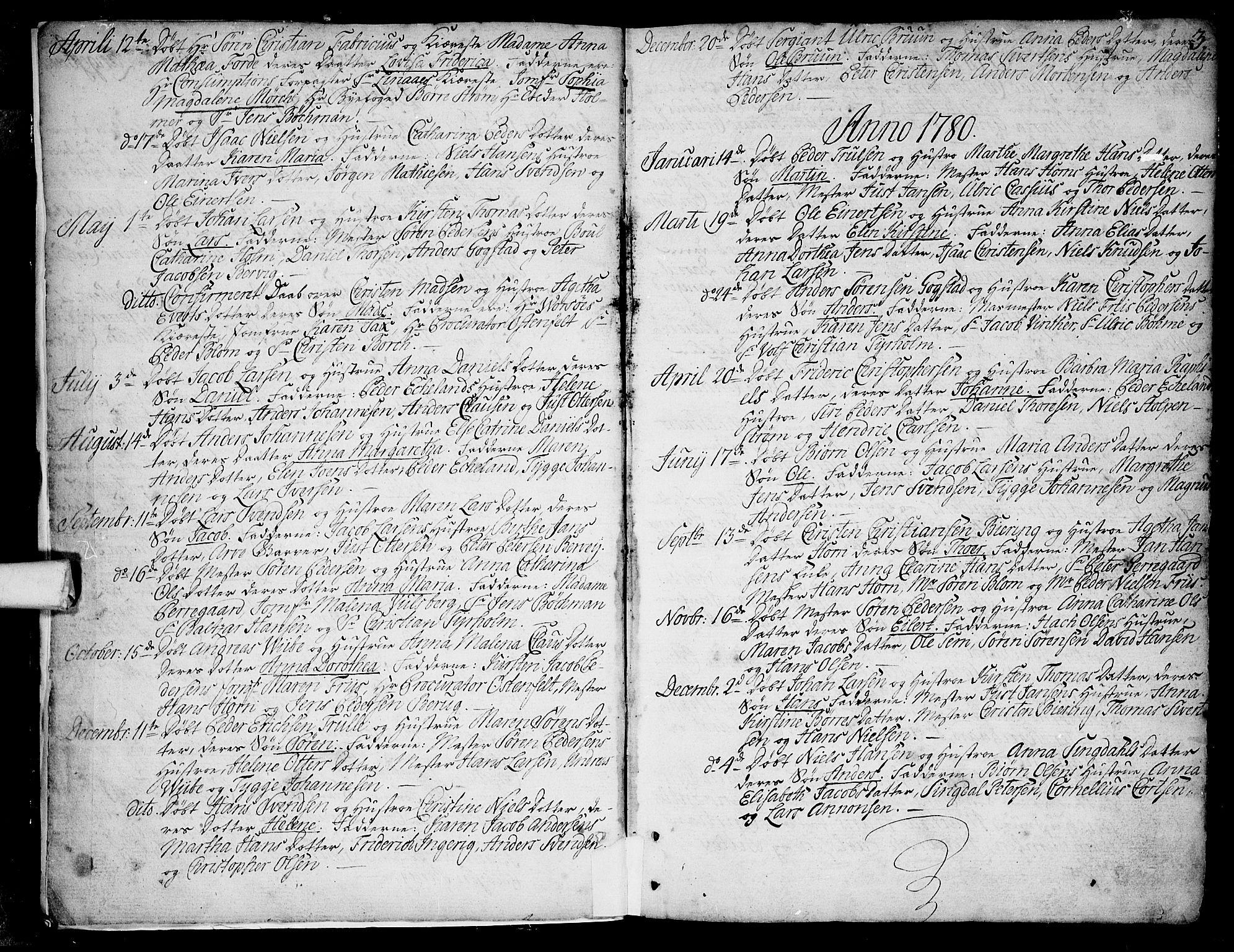 SAKO, Larvik kirkebøker, F/Fb/L0001: Ministerialbok nr. II 1, 1779-1817, s. 3