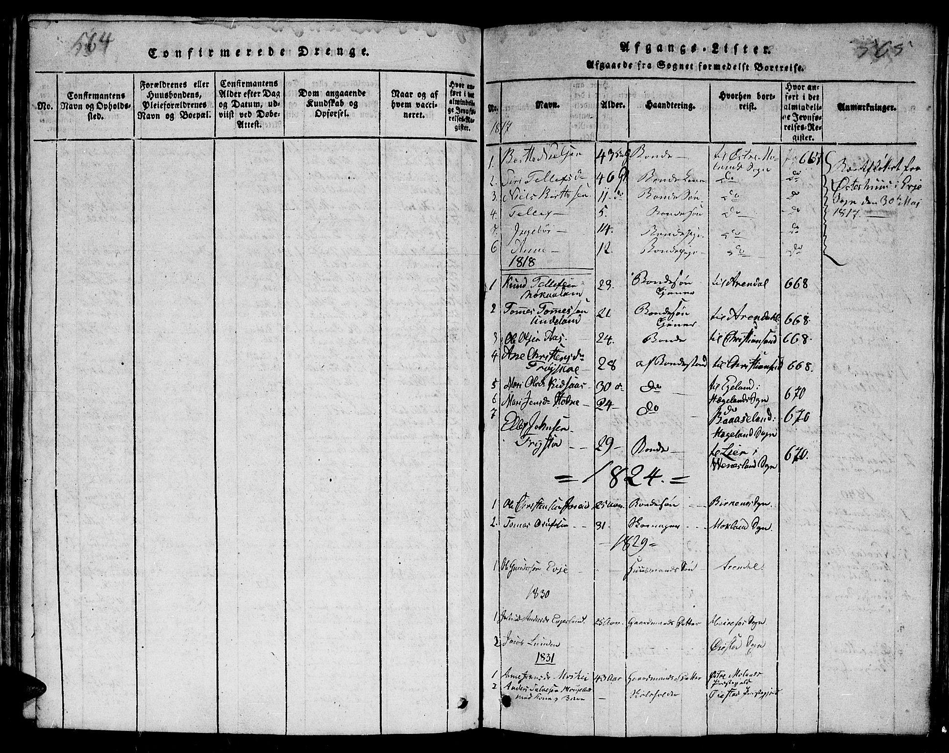 SAK, Evje sokneprestkontor, F/Fb/Fba/L0001: Klokkerbok nr. B 1, 1816-1842, s. 564-565