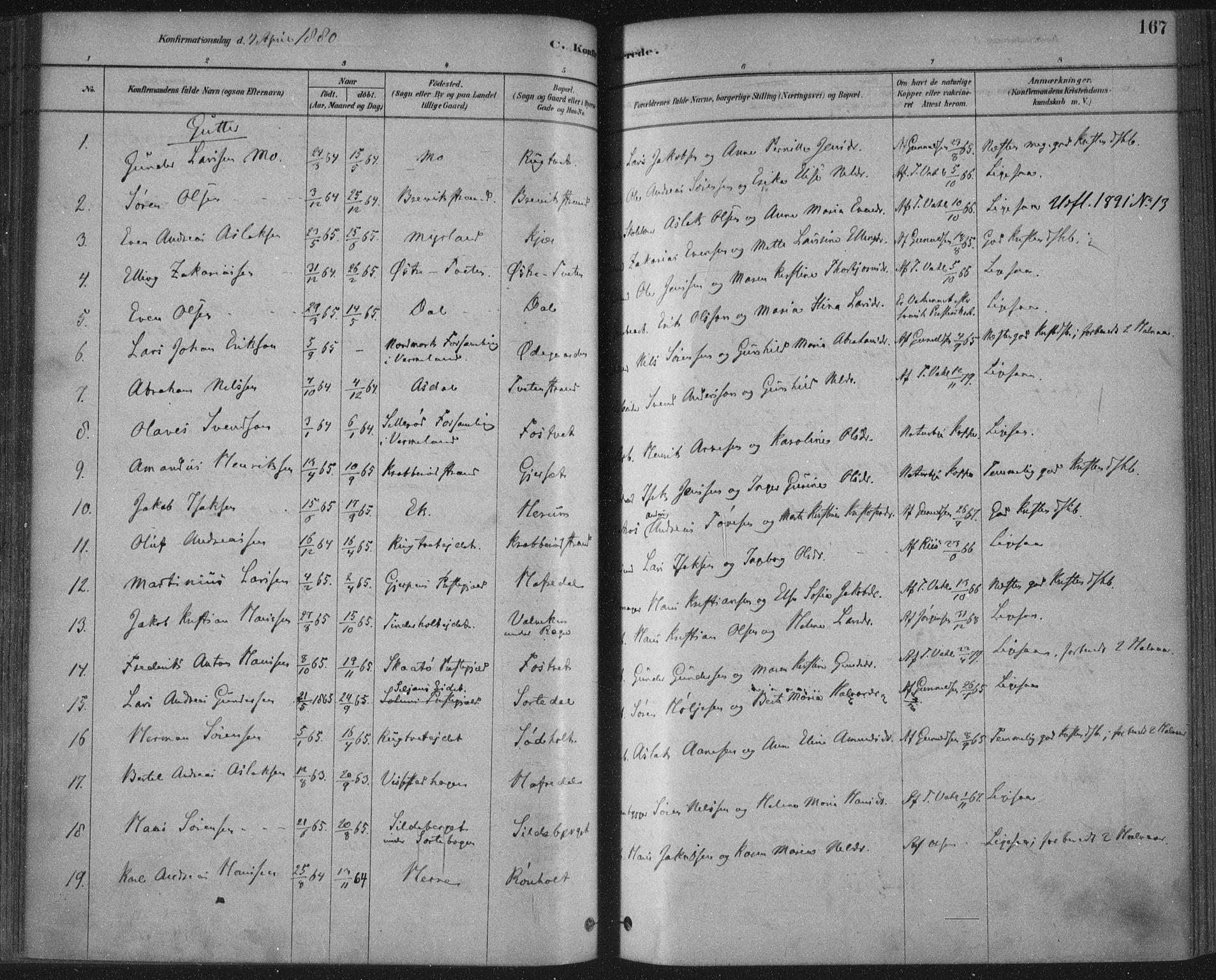 SAKO, Bamble kirkebøker, F/Fa/L0007: Ministerialbok nr. I 7, 1878-1888, s. 167