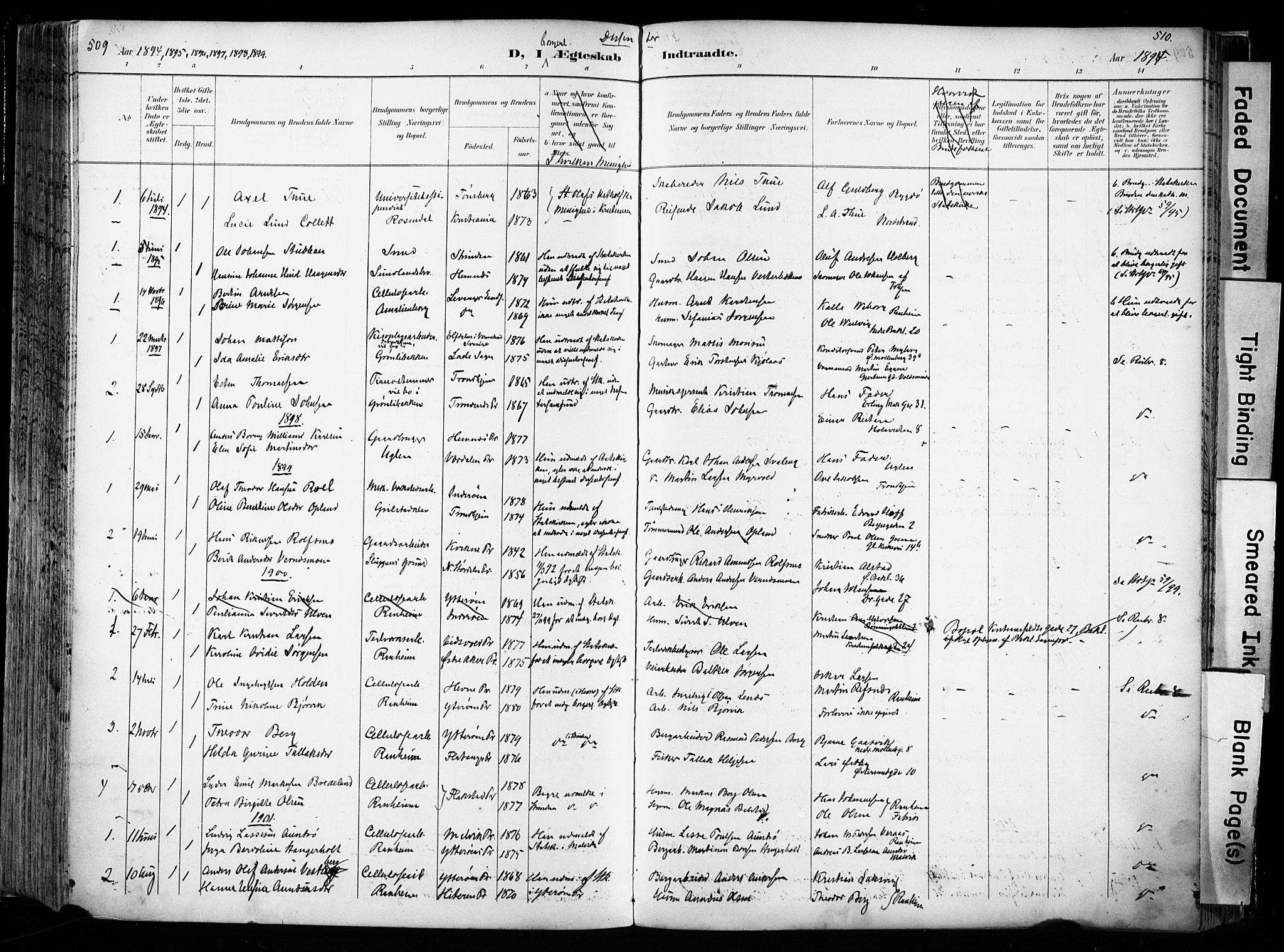 SAT, Ministerialprotokoller, klokkerbøker og fødselsregistre - Sør-Trøndelag, 606/L0301: Ministerialbok nr. 606A16, 1894-1907, s. 509-510