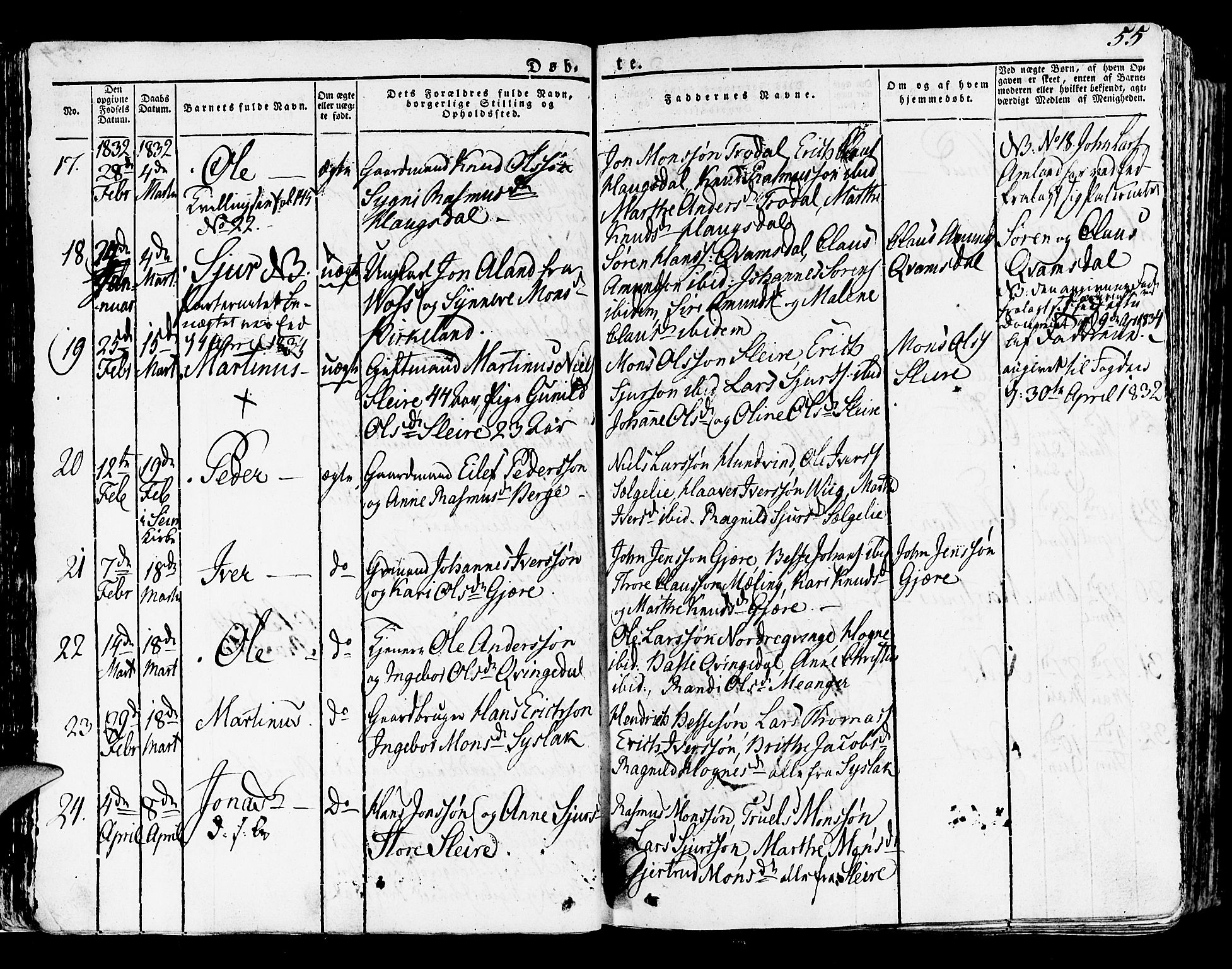 SAB, Lindås Sokneprestembete, H/Haa: Ministerialbok nr. A 8, 1823-1836, s. 55