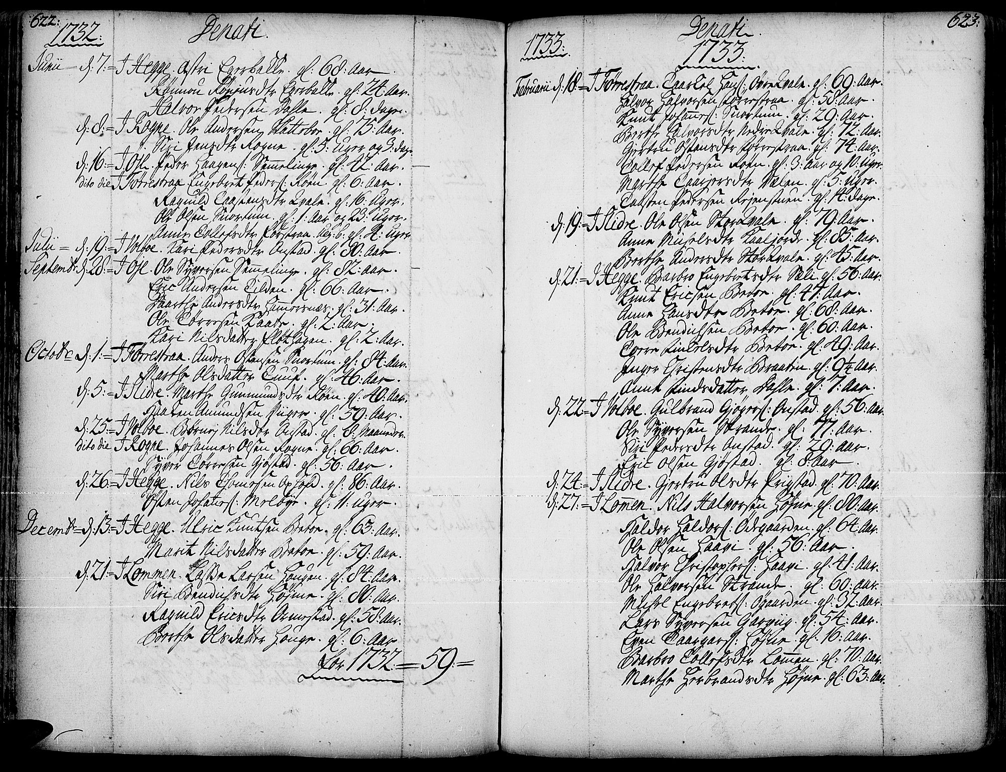 SAH, Slidre prestekontor, Ministerialbok nr. 1, 1724-1814, s. 622-623