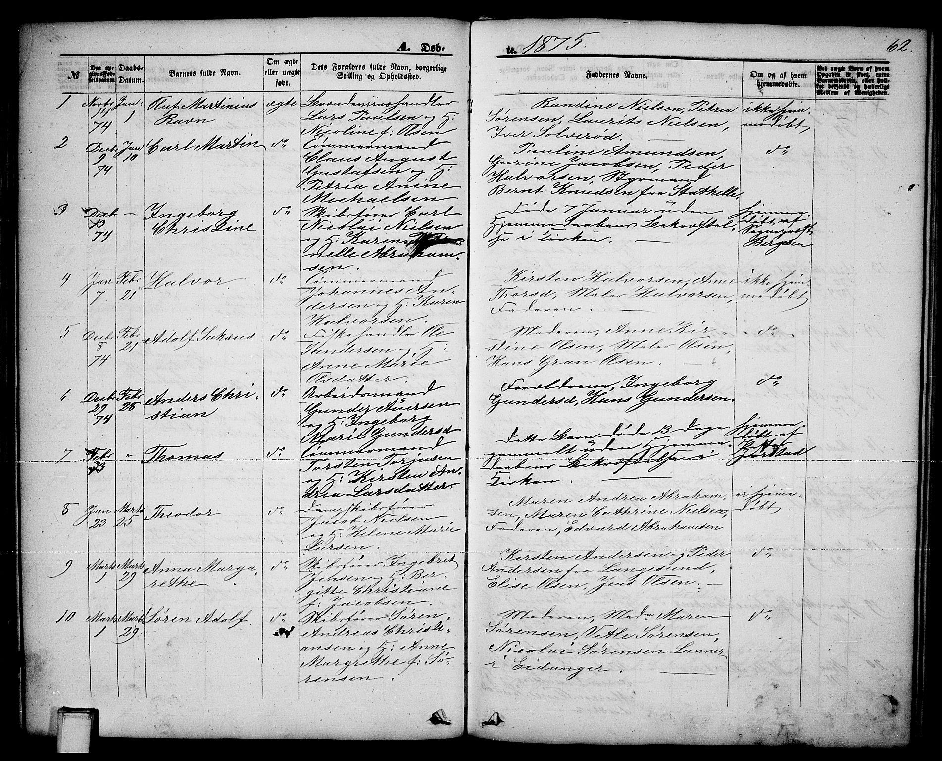 SAKO, Brevik kirkebøker, G/Ga/L0003: Klokkerbok nr. 3, 1866-1881, s. 62