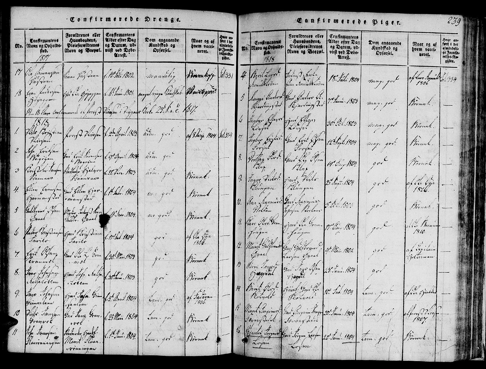 SAT, Ministerialprotokoller, klokkerbøker og fødselsregistre - Sør-Trøndelag, 691/L1065: Ministerialbok nr. 691A03 /1, 1816-1826, s. 239