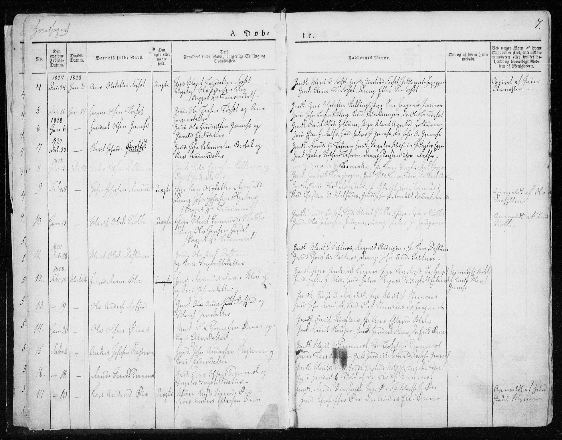 SAT, Ministerialprotokoller, klokkerbøker og fødselsregistre - Sør-Trøndelag, 691/L1069: Ministerialbok nr. 691A04, 1826-1841, s. 7