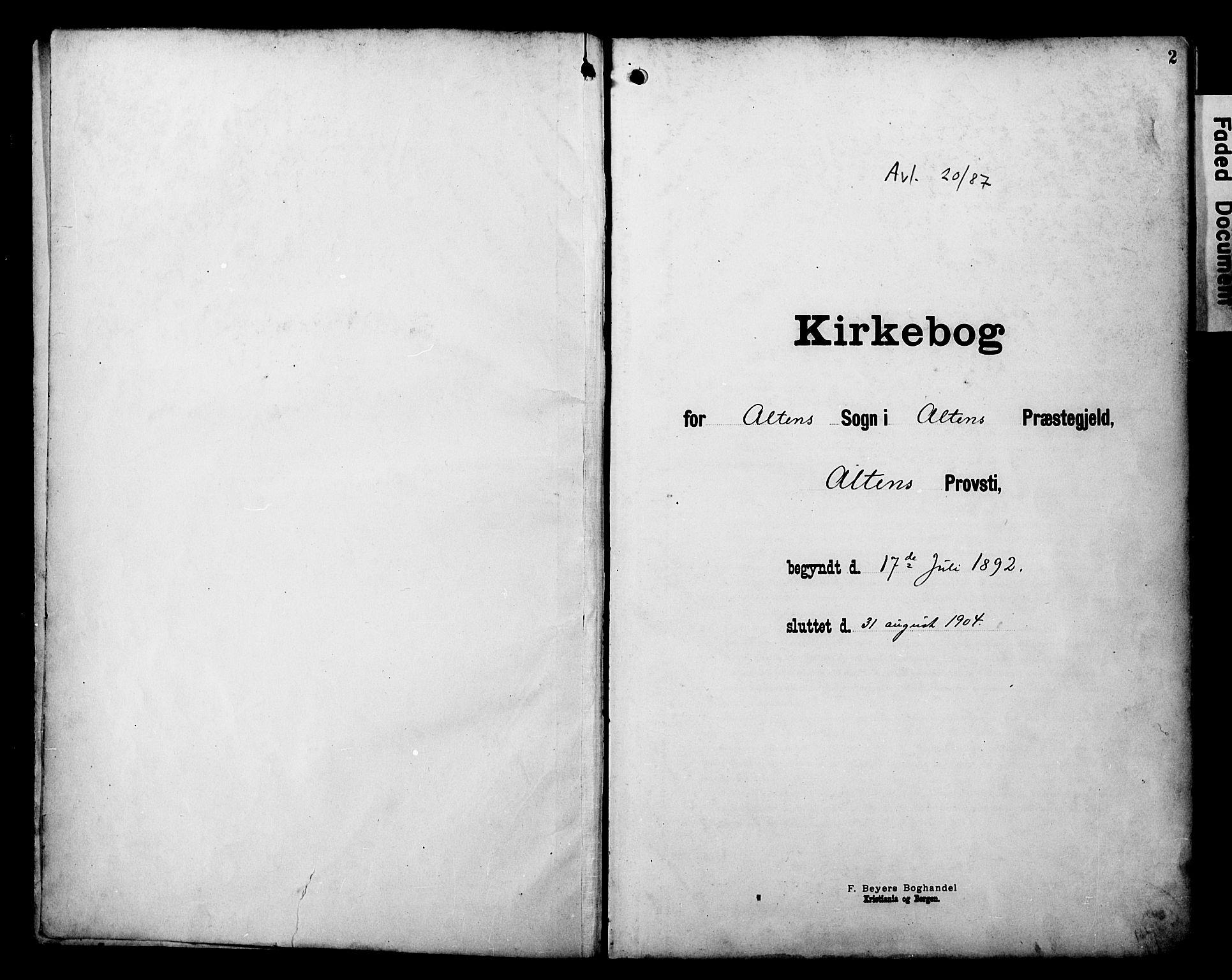 SATØ, Alta sokneprestembete, Ministerialbok nr. 3, 1892-1904, s. 2