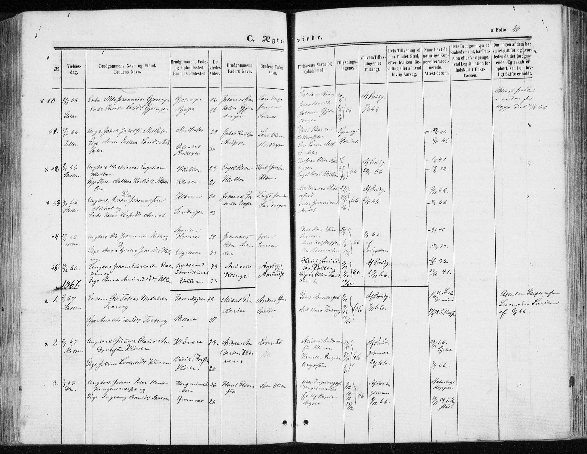 SAT, Ministerialprotokoller, klokkerbøker og fødselsregistre - Sør-Trøndelag, 634/L0531: Ministerialbok nr. 634A07, 1861-1870, s. 40