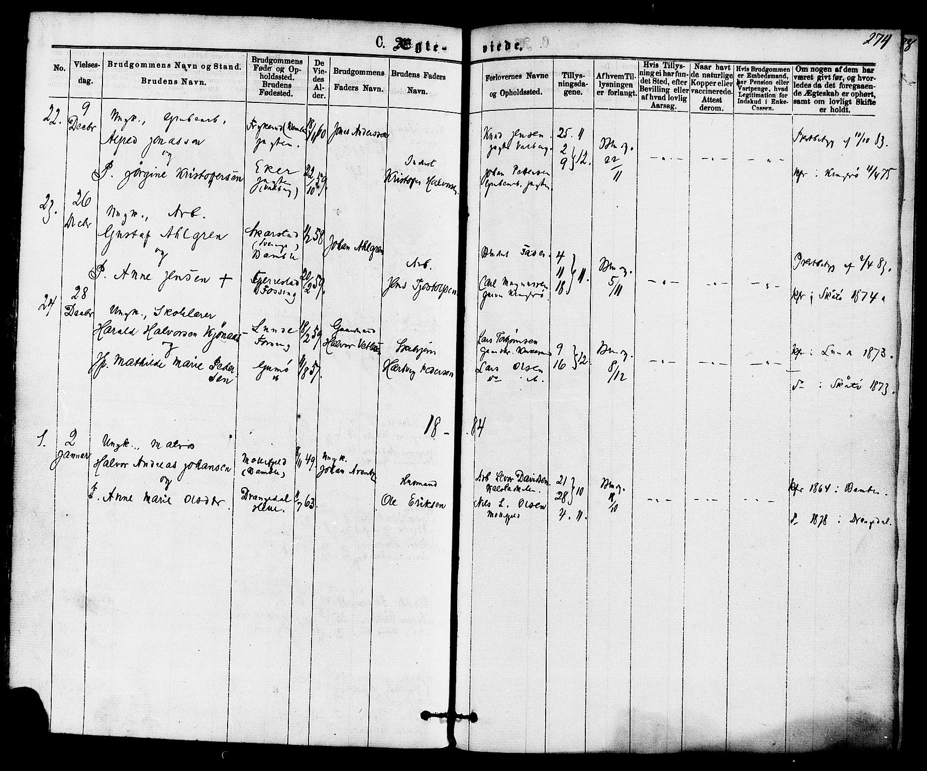 SAKO, Skåtøy kirkebøker, F/Fa/L0001: Ministerialbok nr. I 1, 1874-1883, s. 274