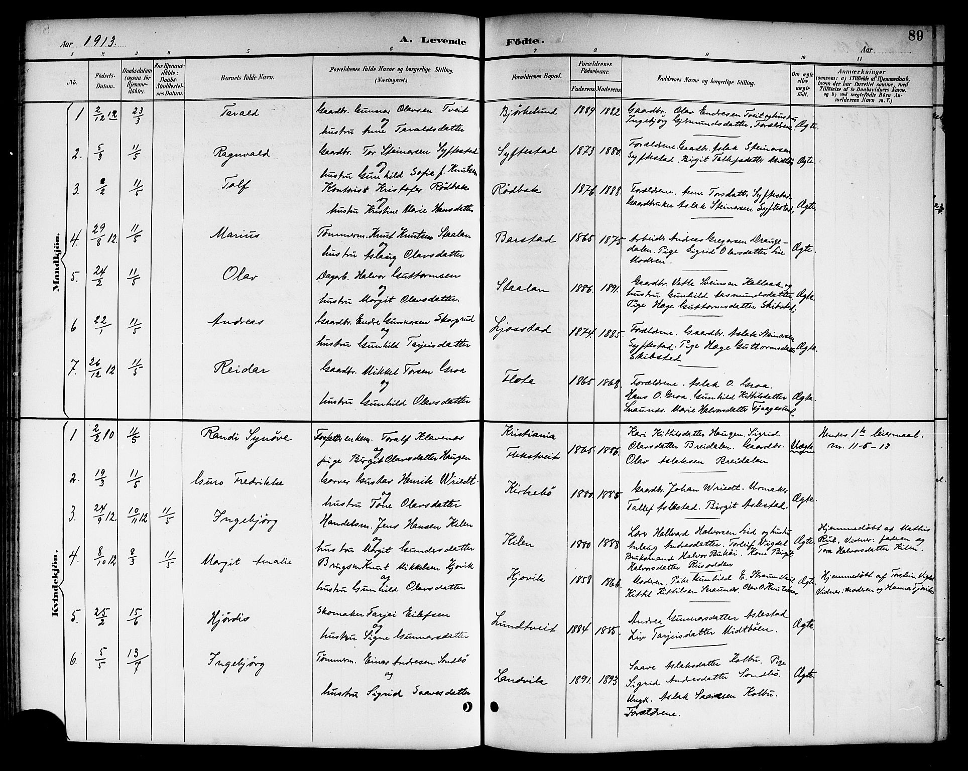 SAKO, Kviteseid kirkebøker, G/Ga/L0002: Klokkerbok nr. I 2, 1893-1918, s. 89