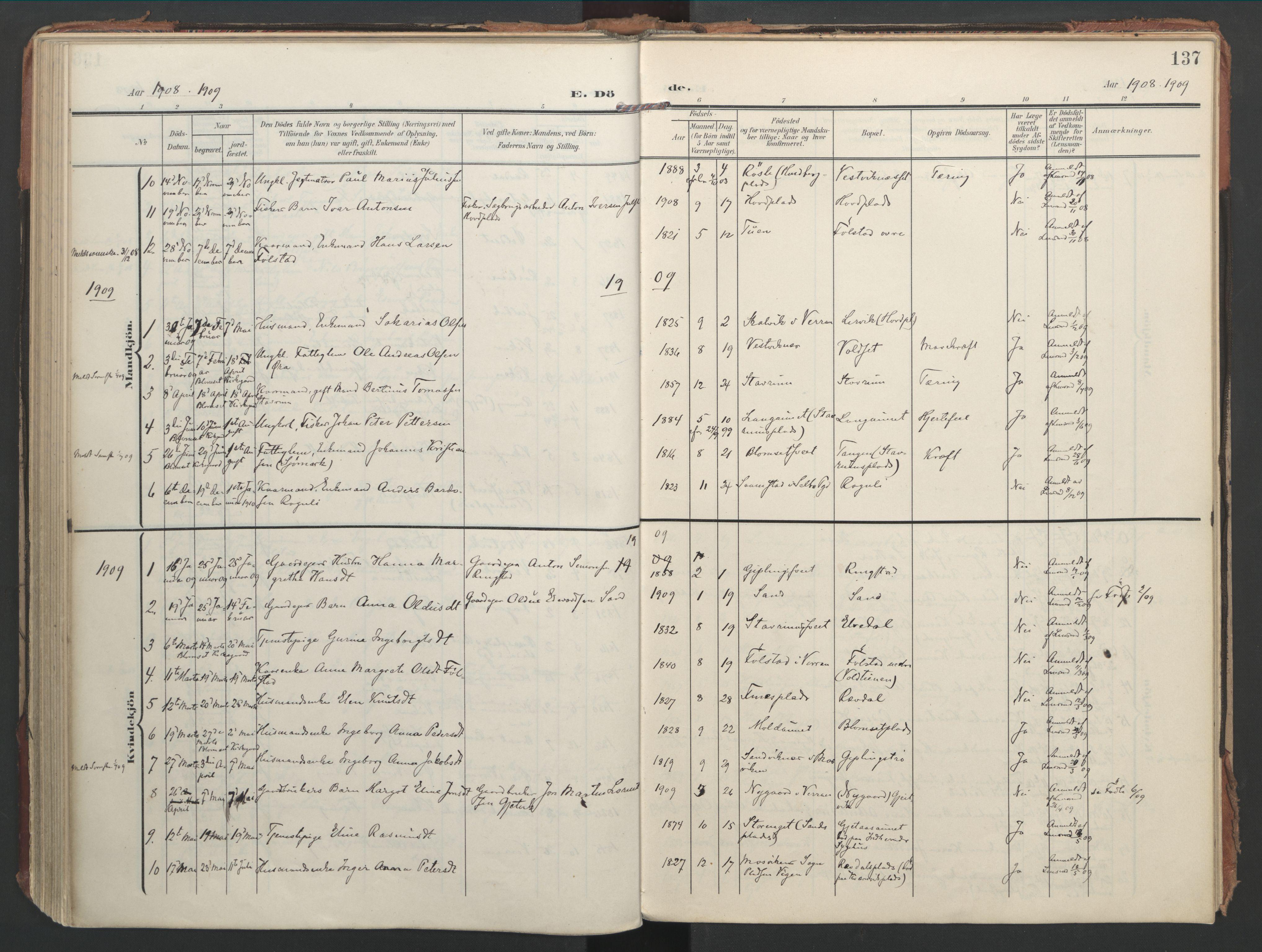 SAT, Ministerialprotokoller, klokkerbøker og fødselsregistre - Nord-Trøndelag, 744/L0421: Ministerialbok nr. 744A05, 1905-1930, s. 137