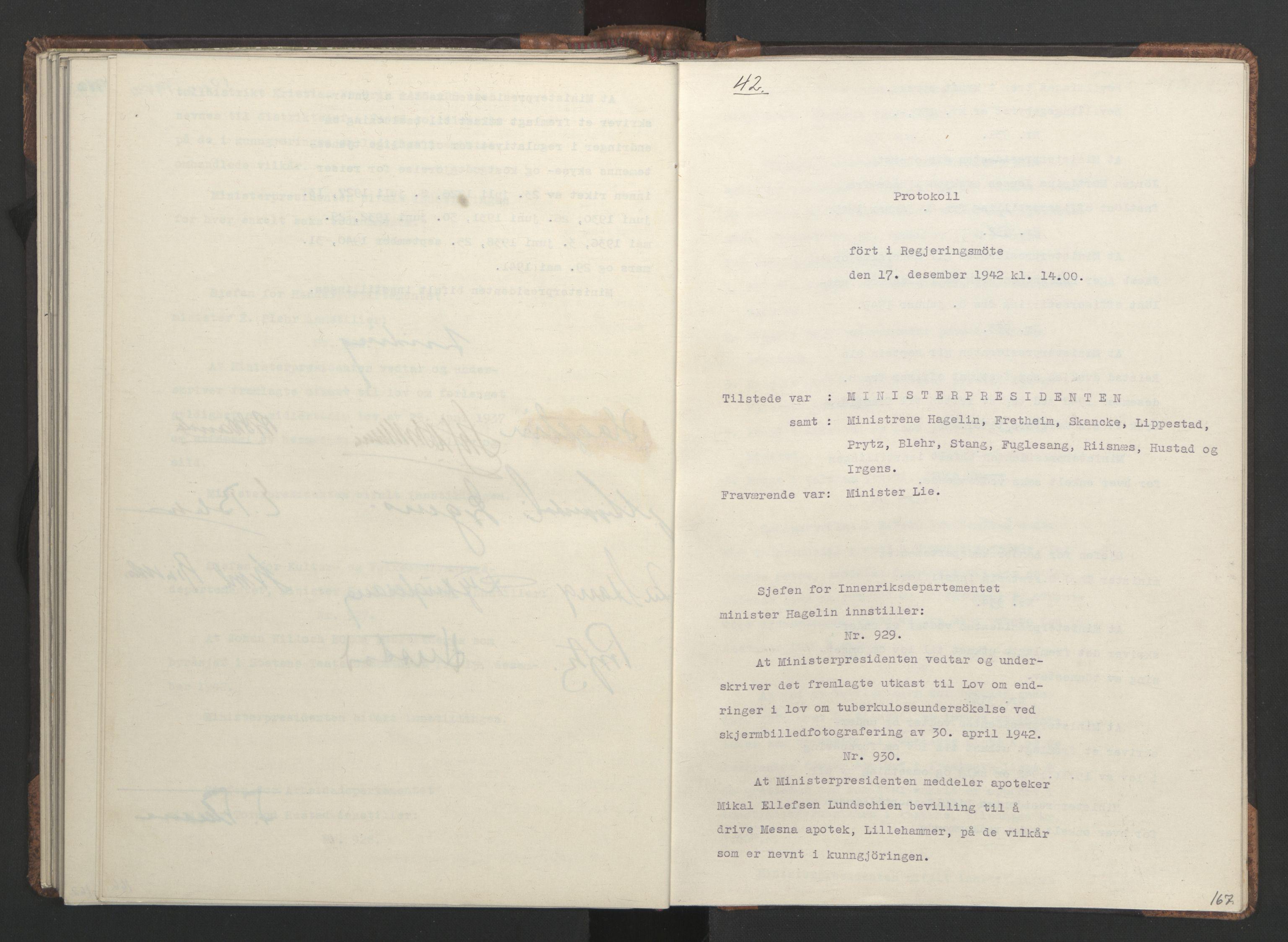 RA, NS-administrasjonen 1940-1945 (Statsrådsekretariatet, de kommisariske statsråder mm), D/Da/L0001: Beslutninger og tillegg (1-952 og 1-32), 1942, s. 166b-167a