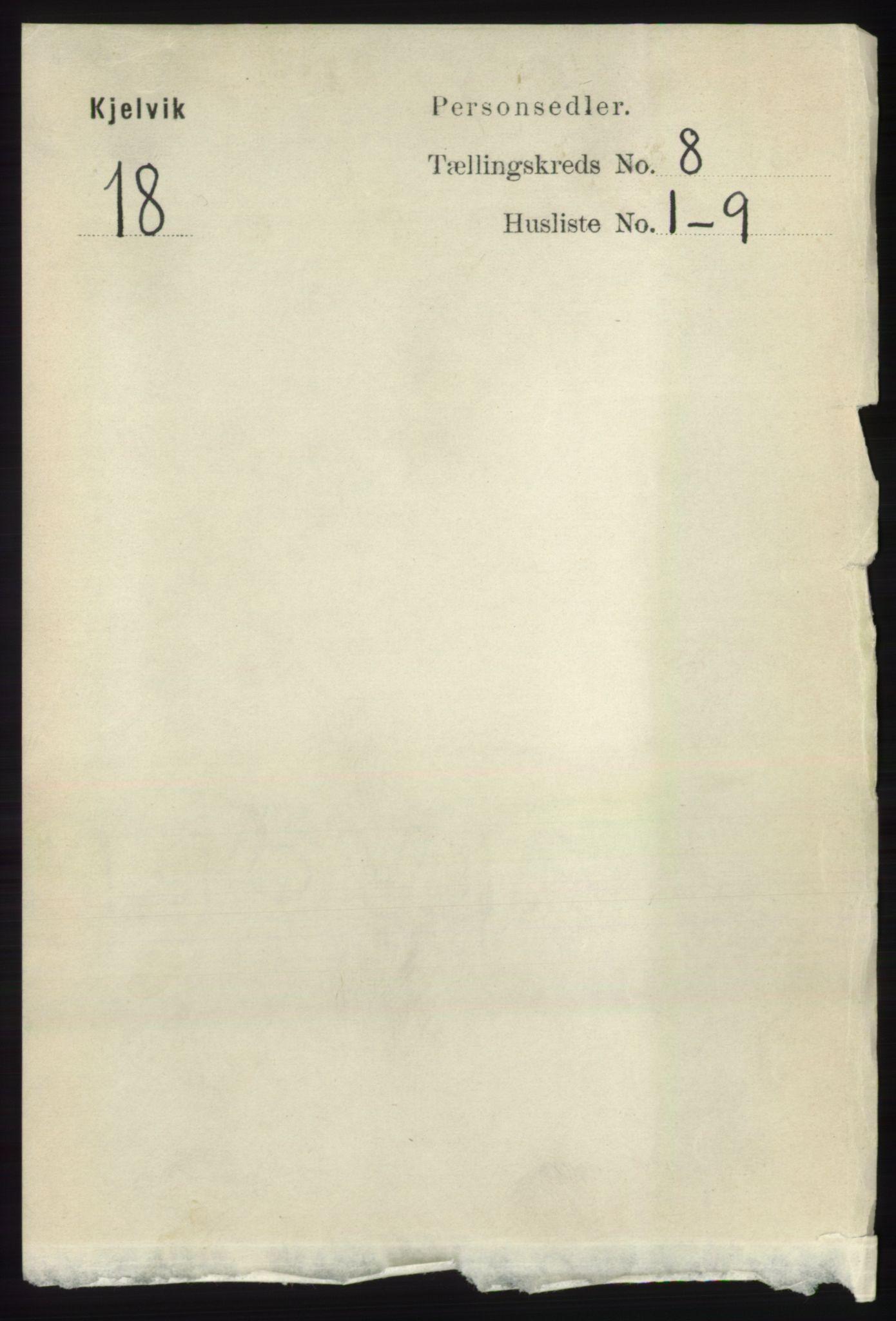 RA, Folketelling 1891 for 2019 Kjelvik herred, 1891, s. 1174