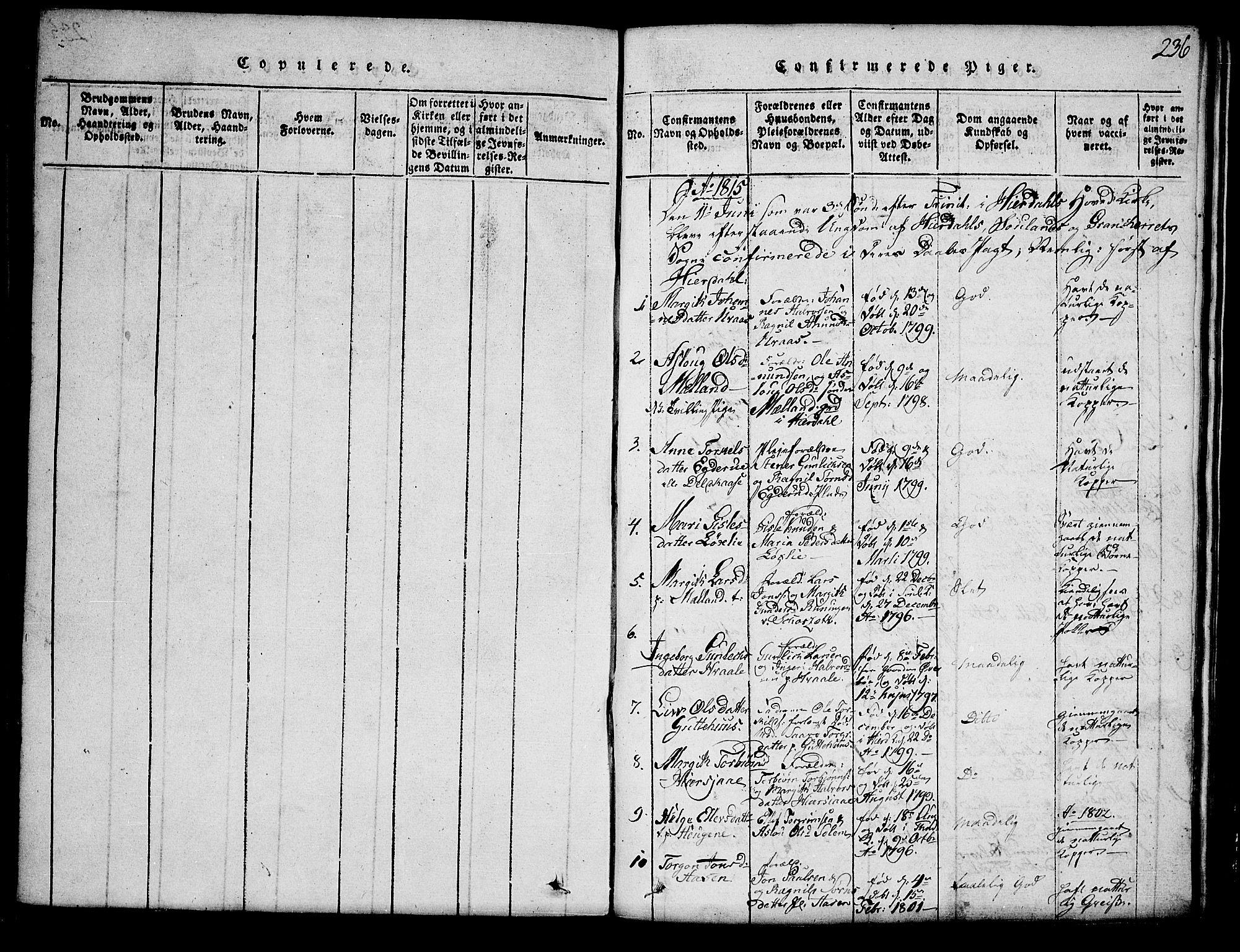 SAKO, Hjartdal kirkebøker, G/Ga/L0001: Klokkerbok nr. I 1, 1815-1842, s. 236