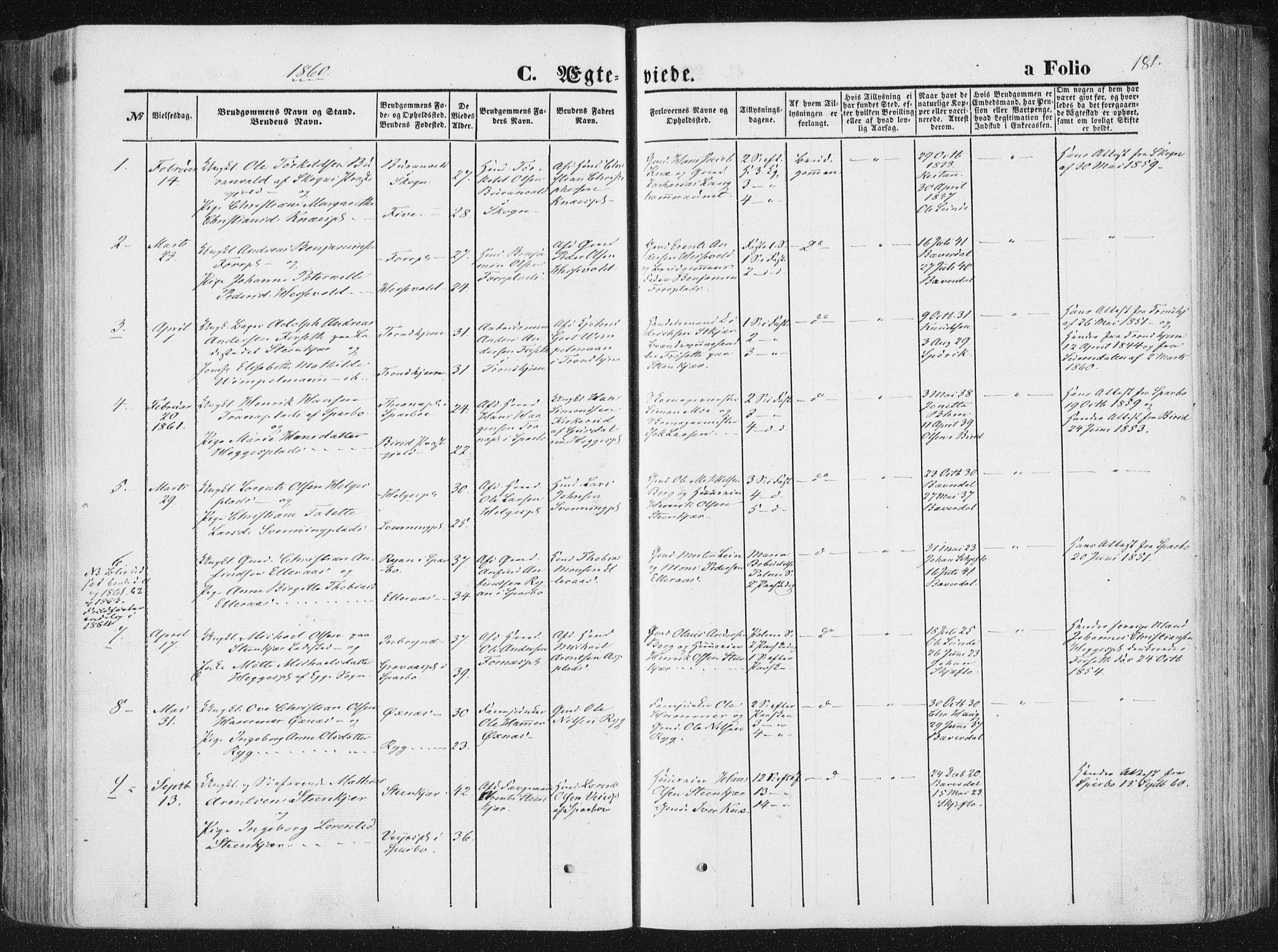 SAT, Ministerialprotokoller, klokkerbøker og fødselsregistre - Nord-Trøndelag, 746/L0447: Ministerialbok nr. 746A06, 1860-1877, s. 181