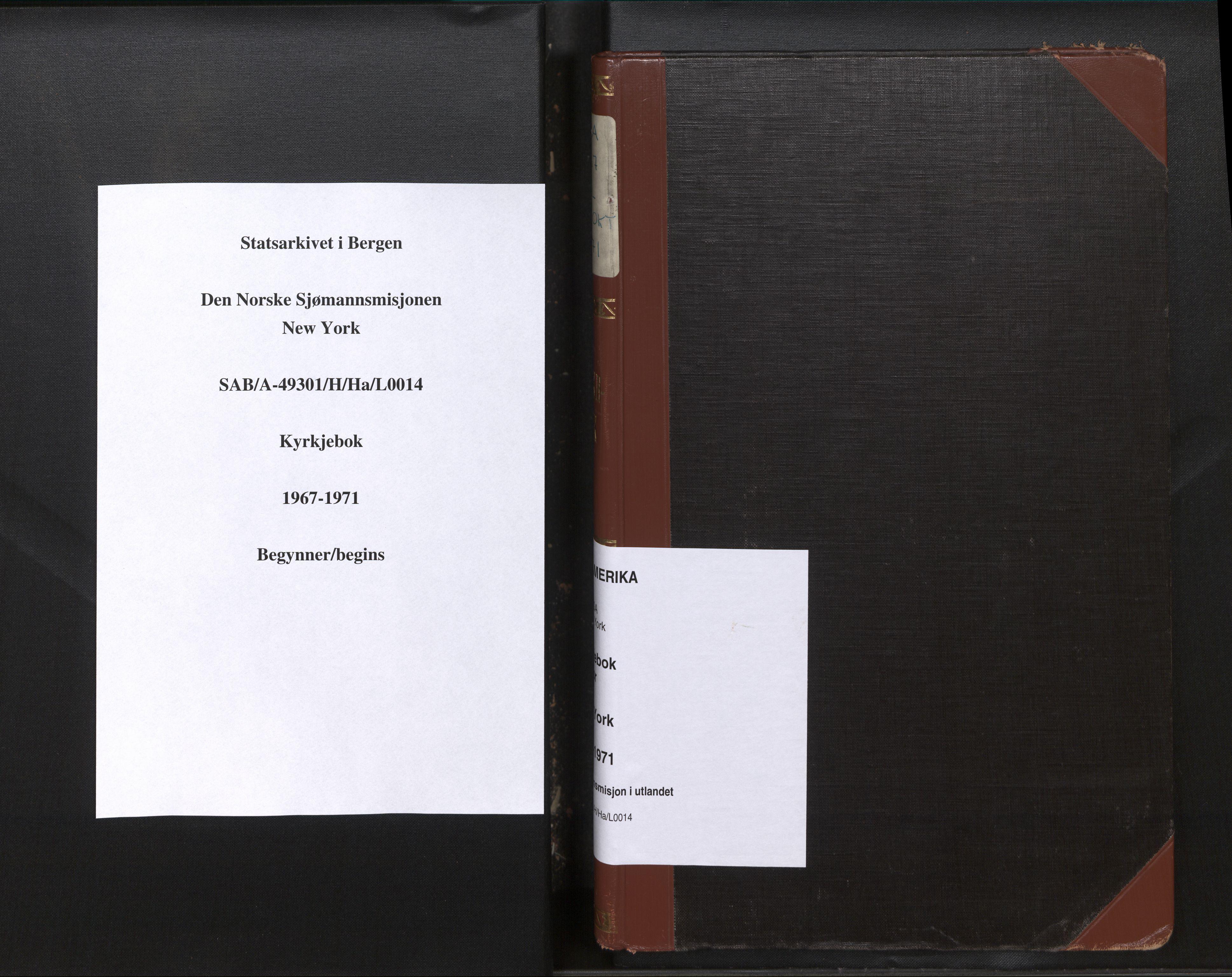 SAB, Privatarkiv 110 - Den norske sjømannsmisjon i utlandet/New York, H/Ha/L0014: Ministerialbok nr. A 14, 1967-1971